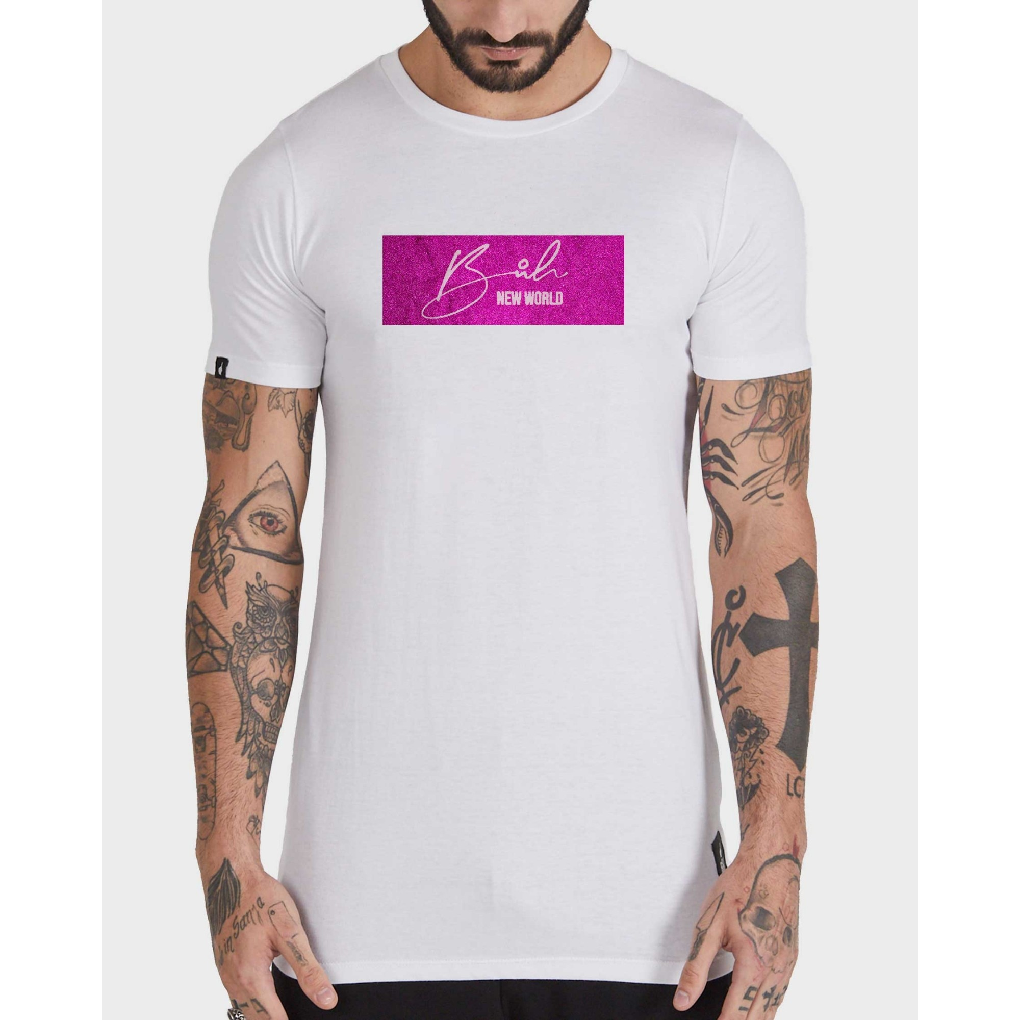 Camiseta Buh Glitter White & Rose