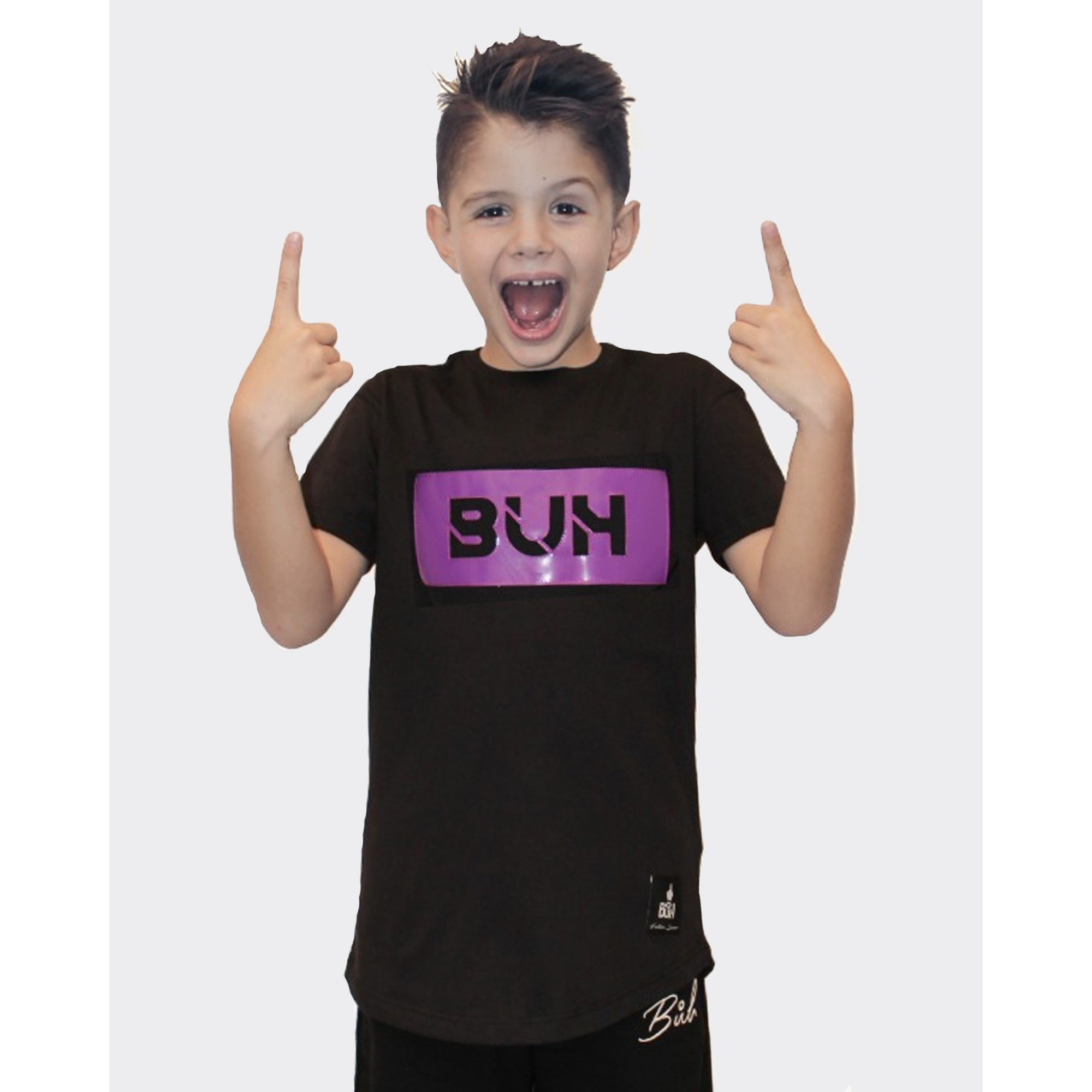 Camiseta Buh Kids Aplique Vinil Black & Purple