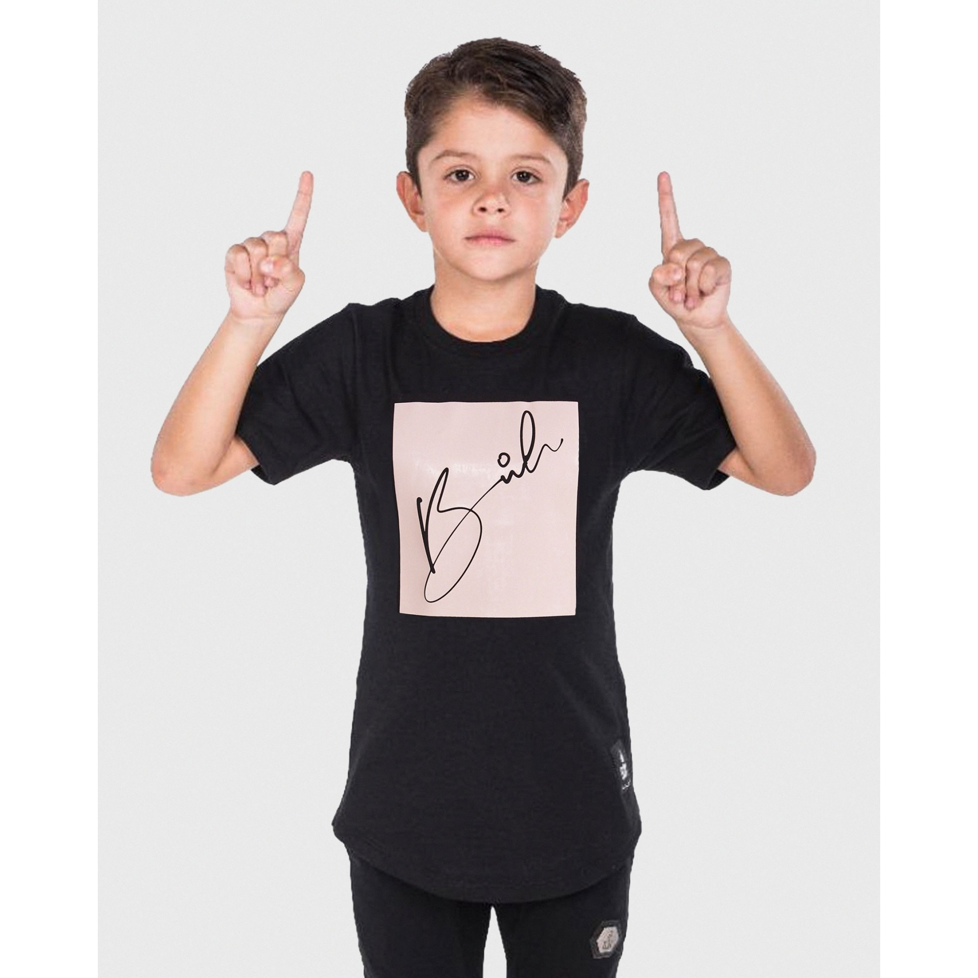 Camiseta Buh Kids Candy Square Black & Rose