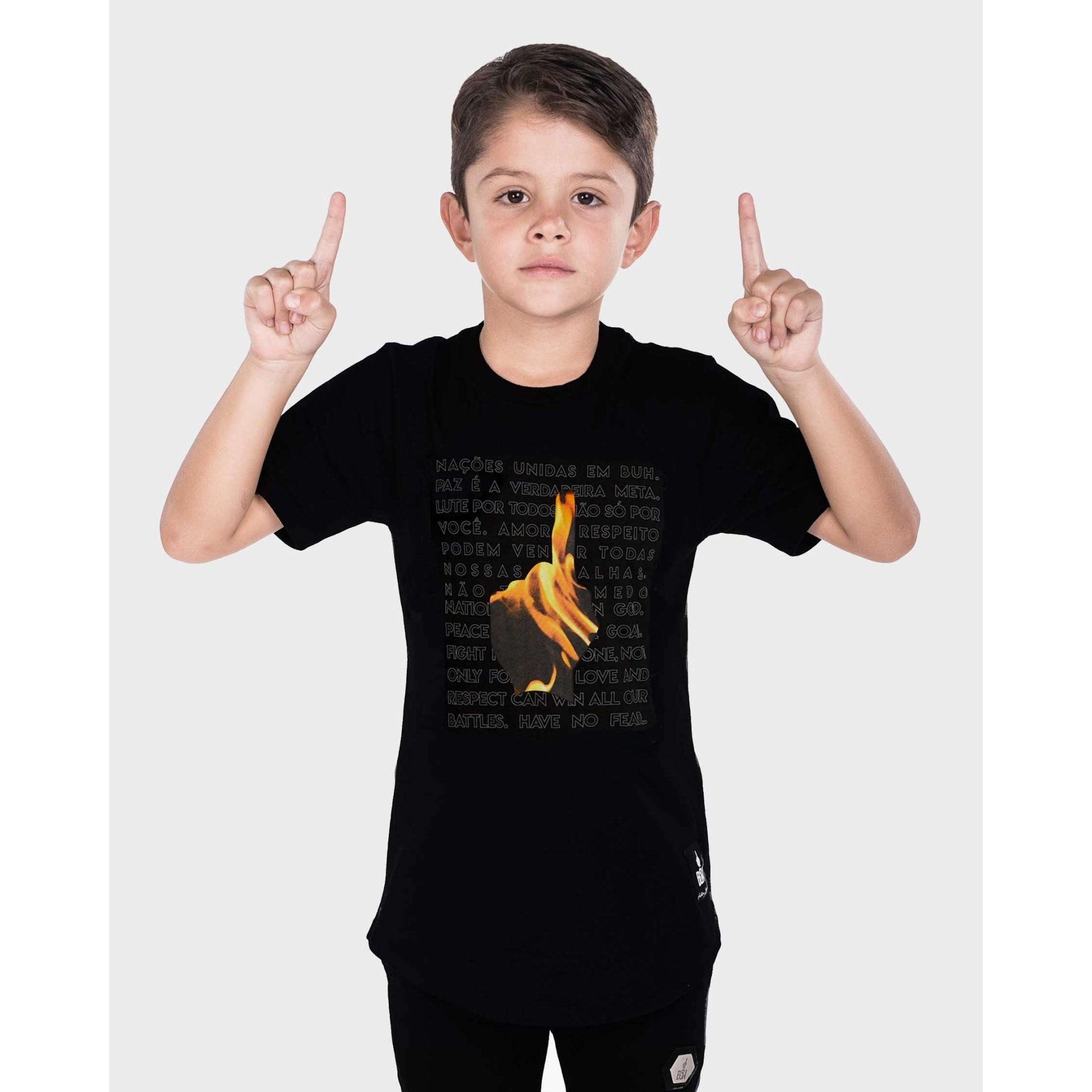Camiseta Buh Kids Dedo Chamas Black