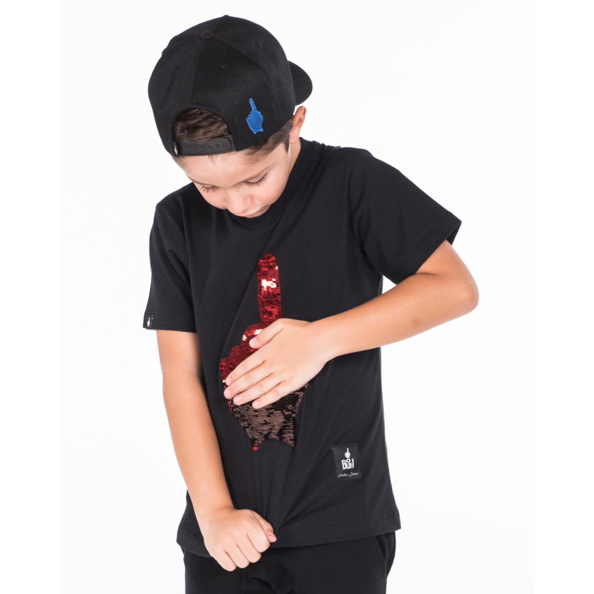 Camiseta Buh Kids Dedo Paetê Black