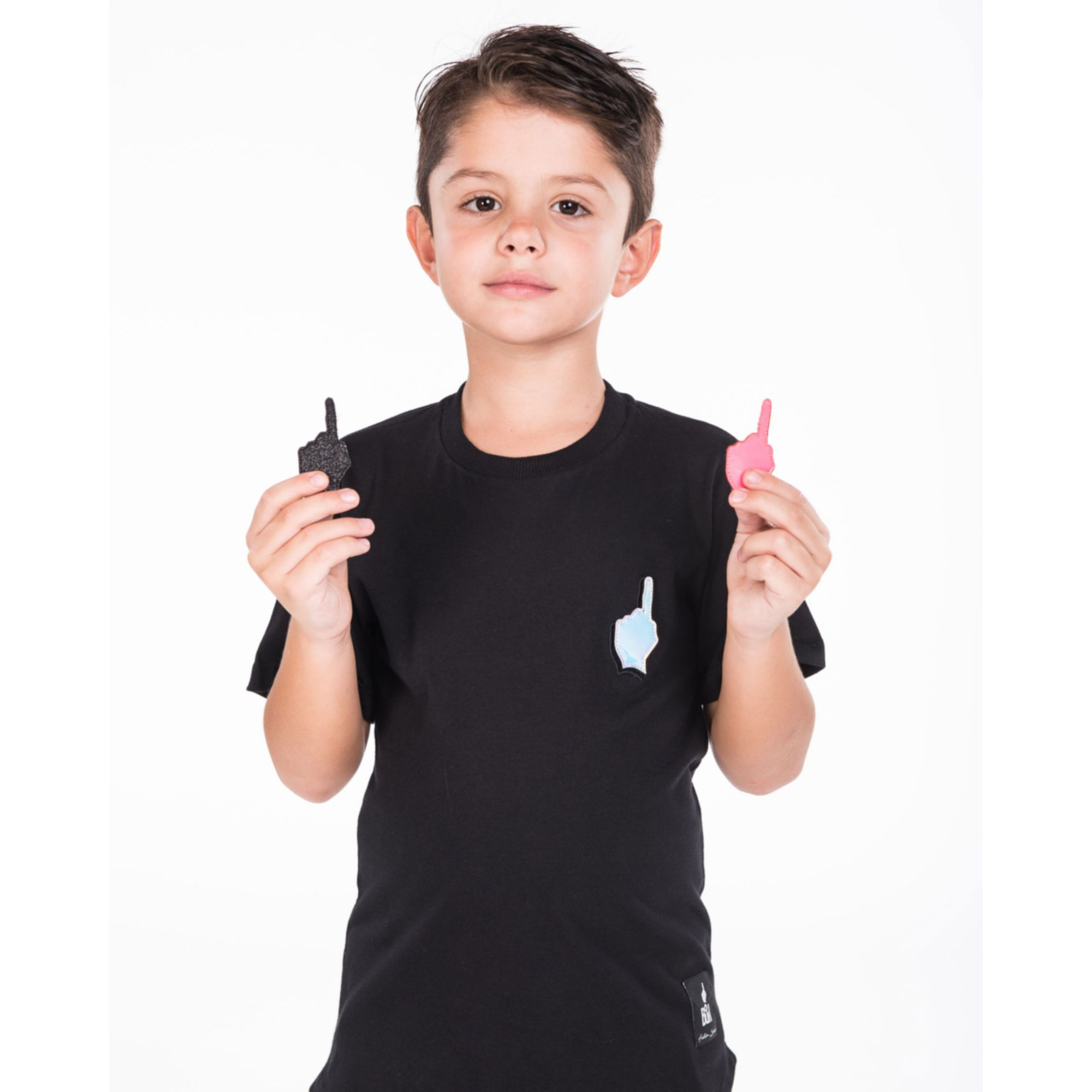 Camiseta Buh Kids Dedo Patches Black