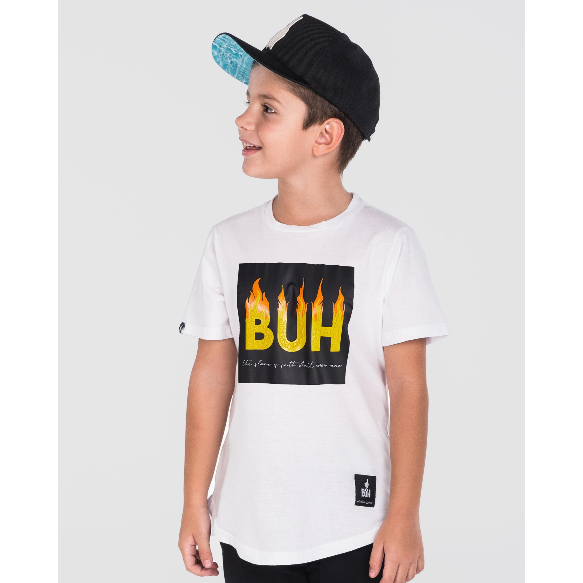 Camiseta Buh Kids Fire Relevo White