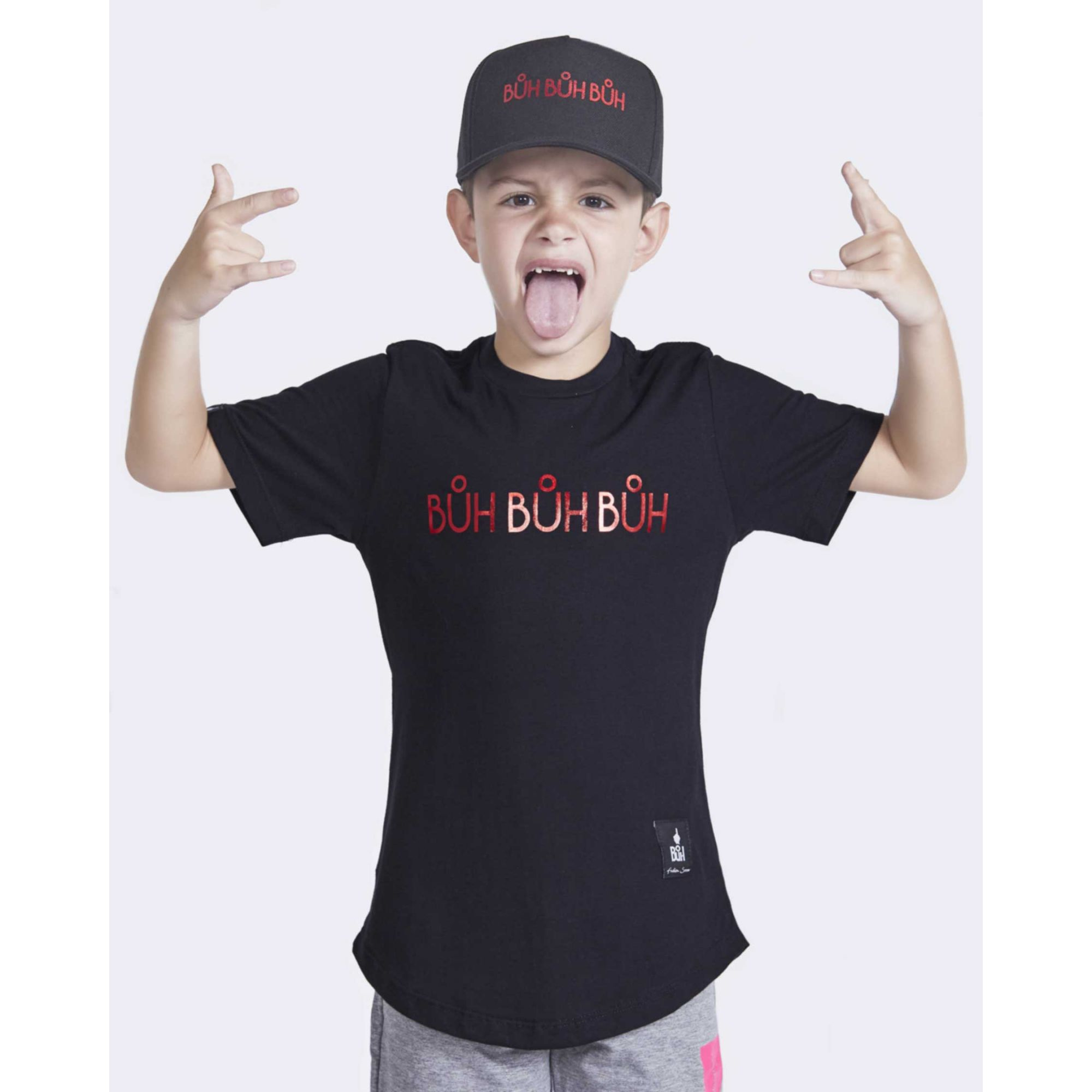 Camiseta Buh Kids Foil Black & Red