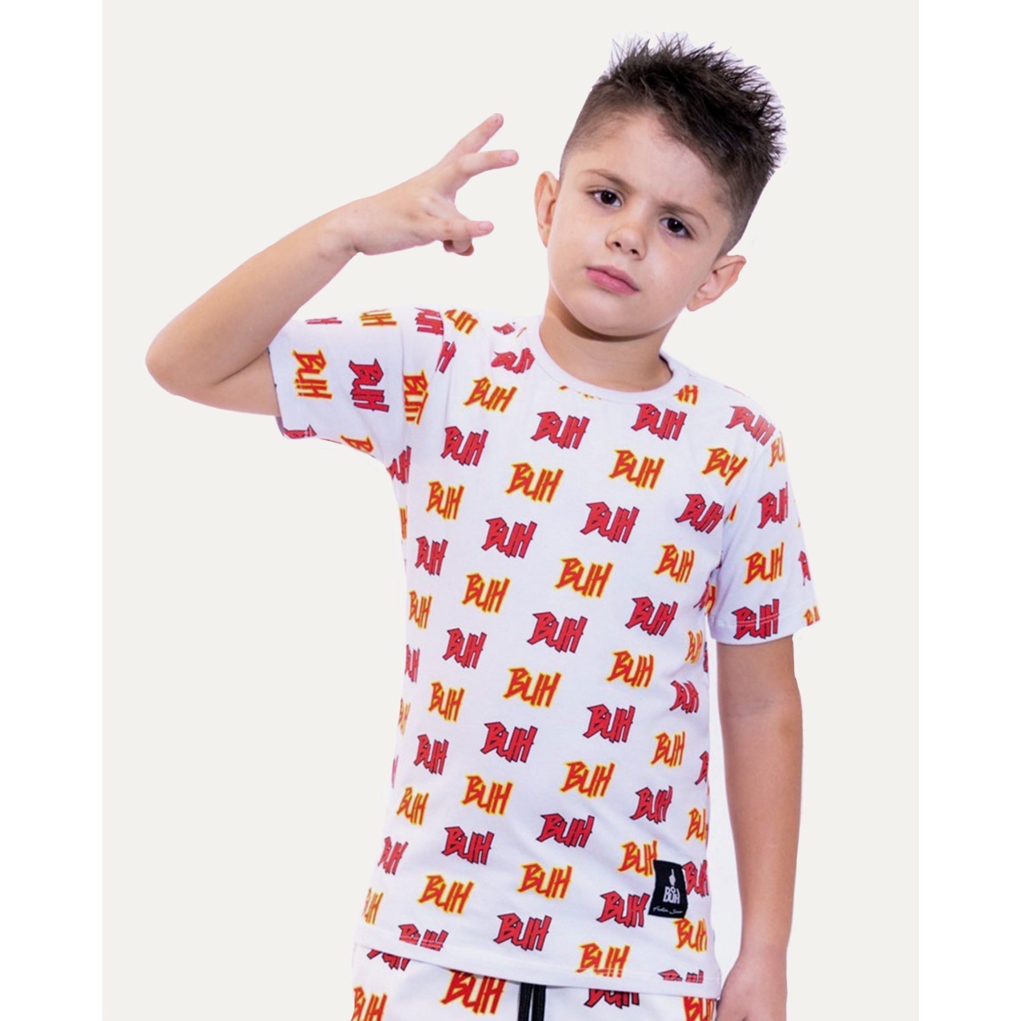Camiseta Buh Kids Full Logo White