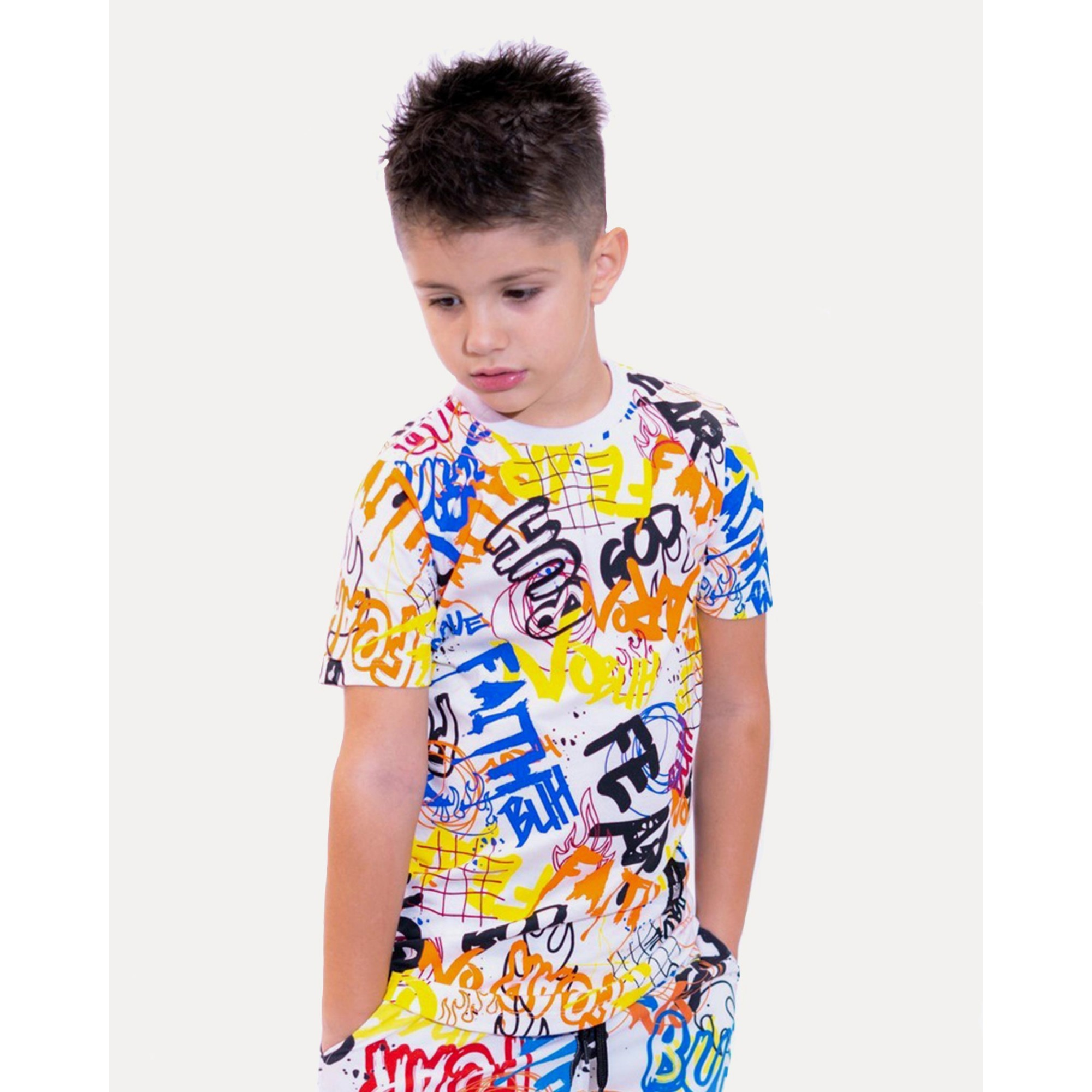 Camiseta Buh Kids Grafitti White