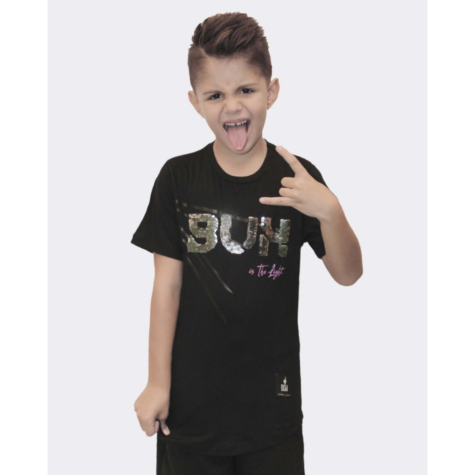 Camiseta Buh Kids Paetê Is The Light