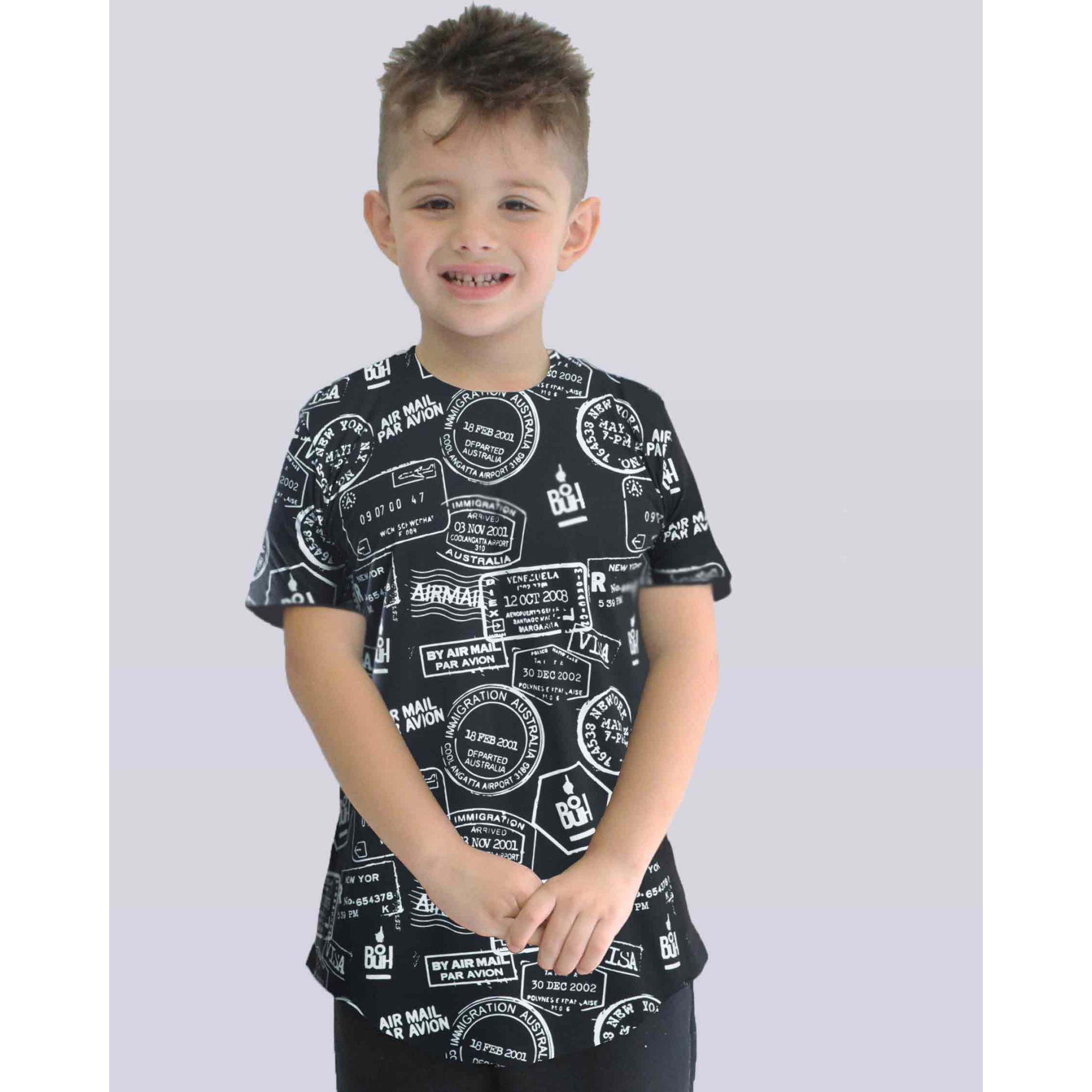 Camiseta Buh Kids Passaporte Black