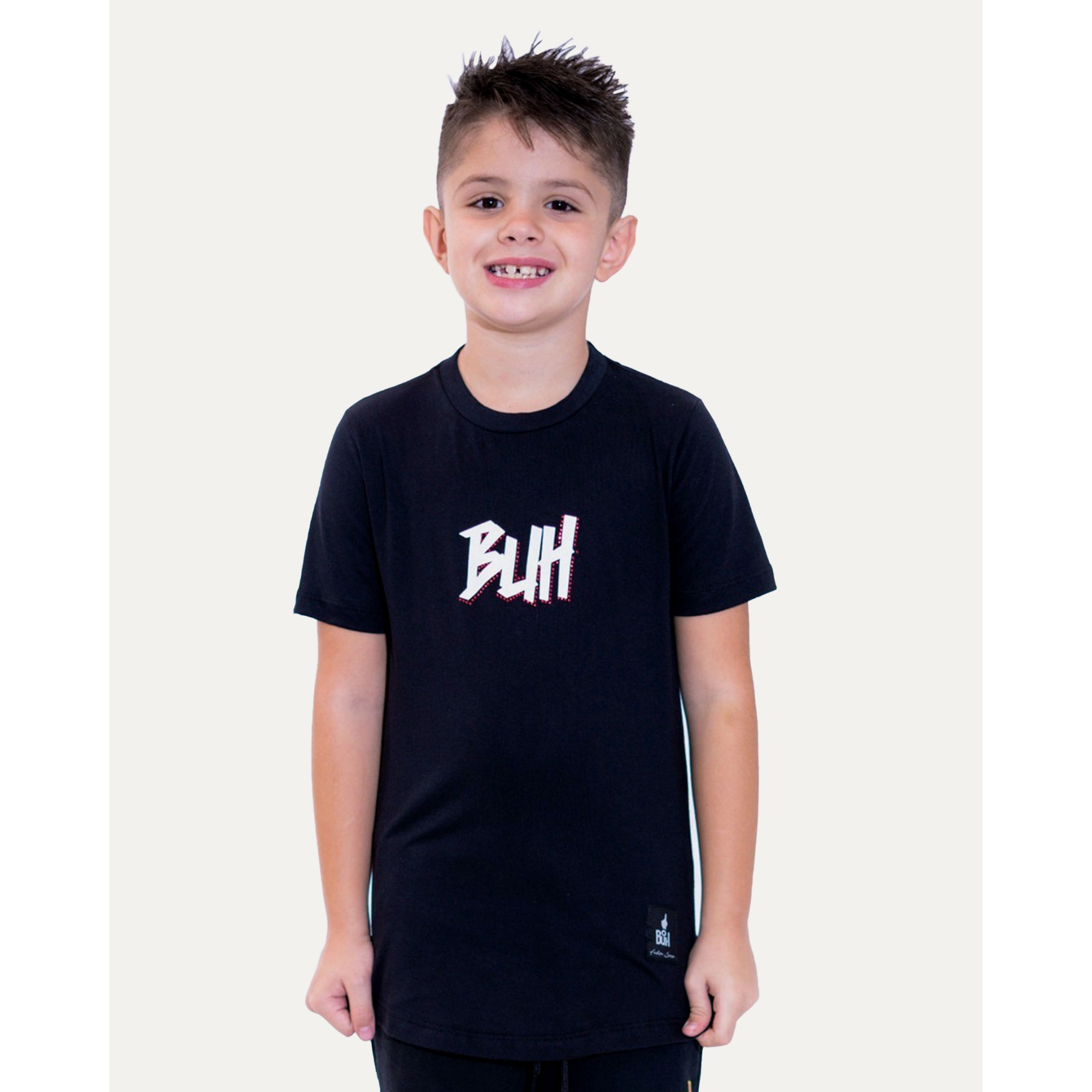 Camiseta Buh Kids Strass Logo Black