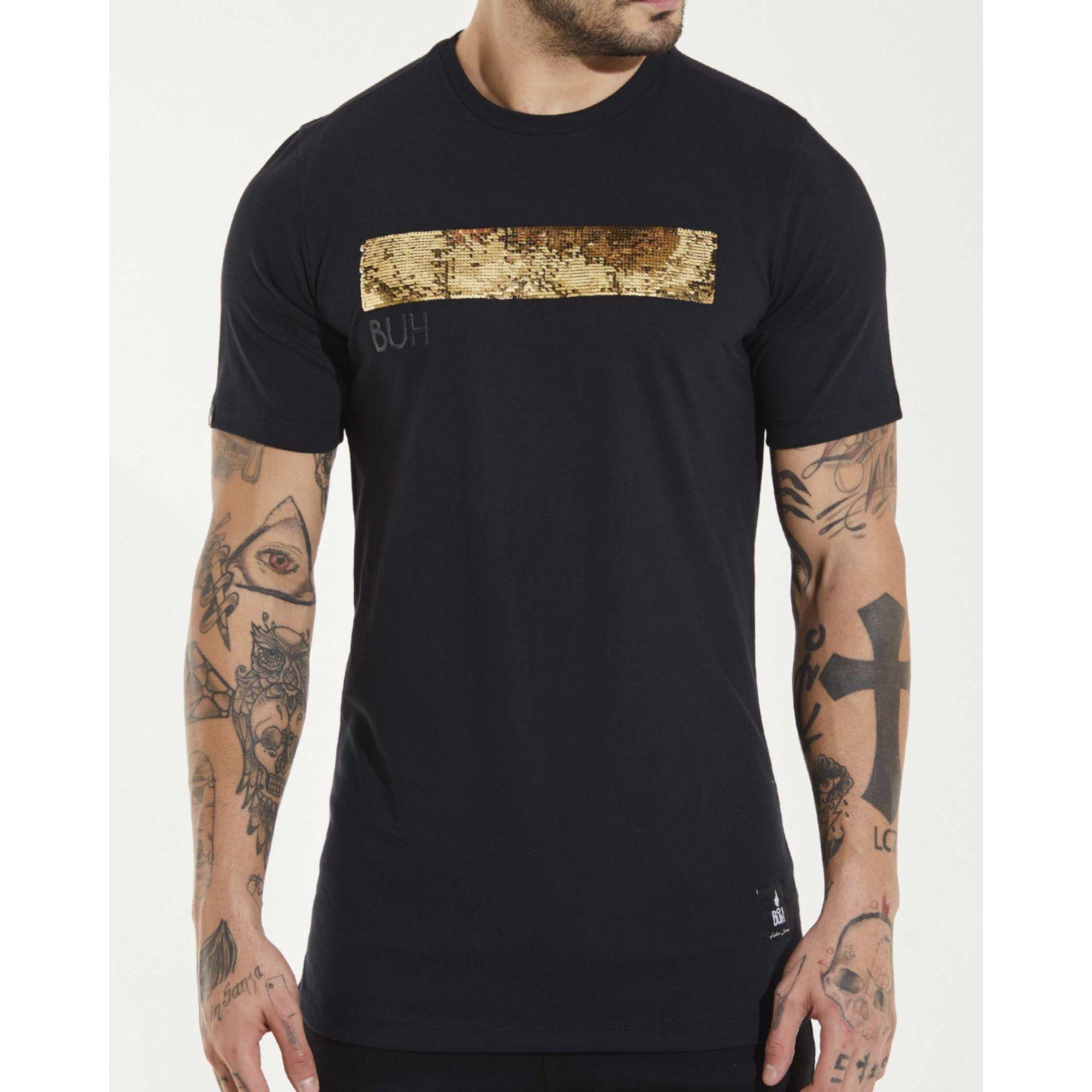 Camiseta Buh Line Paetê Black