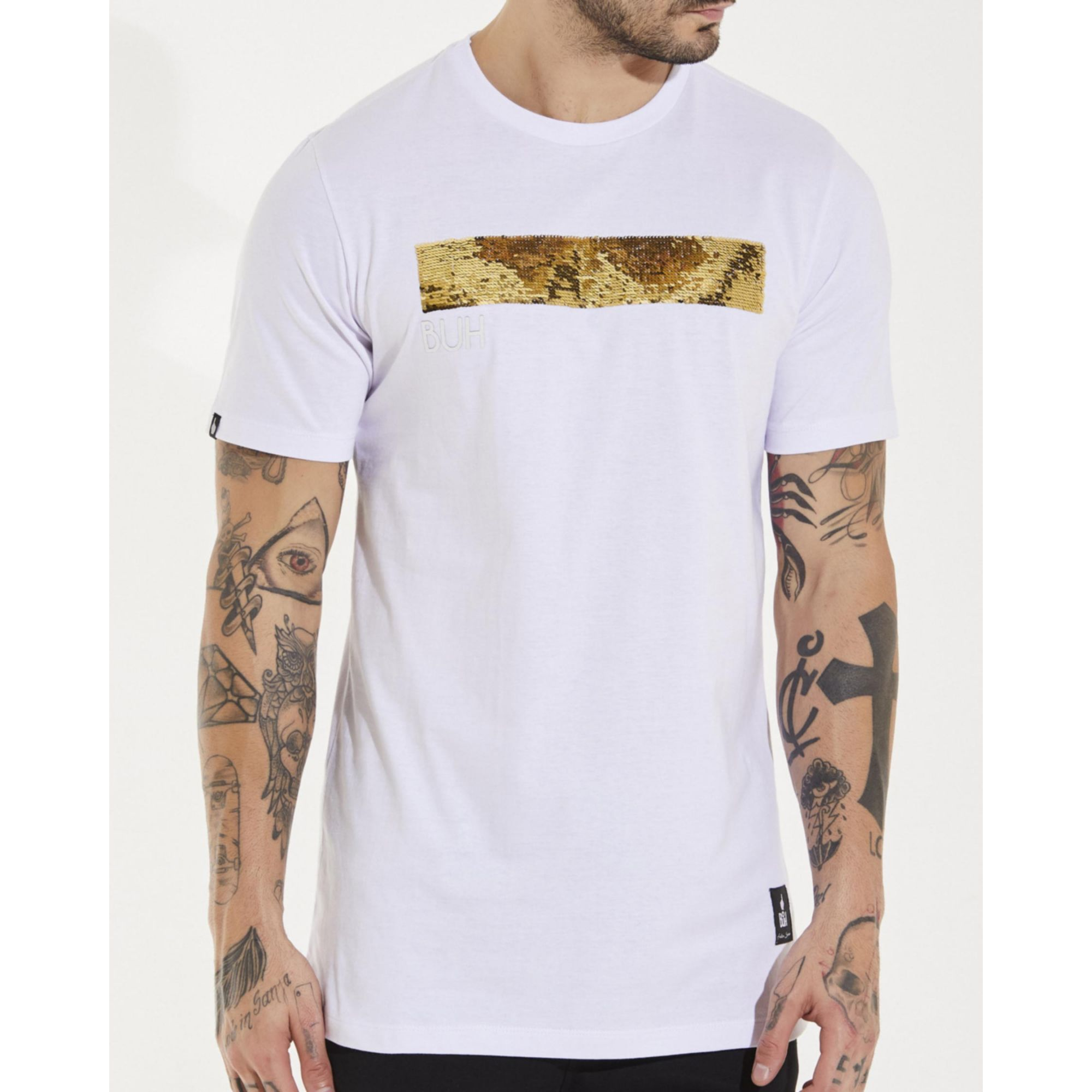 Camiseta Buh Line Paetê White