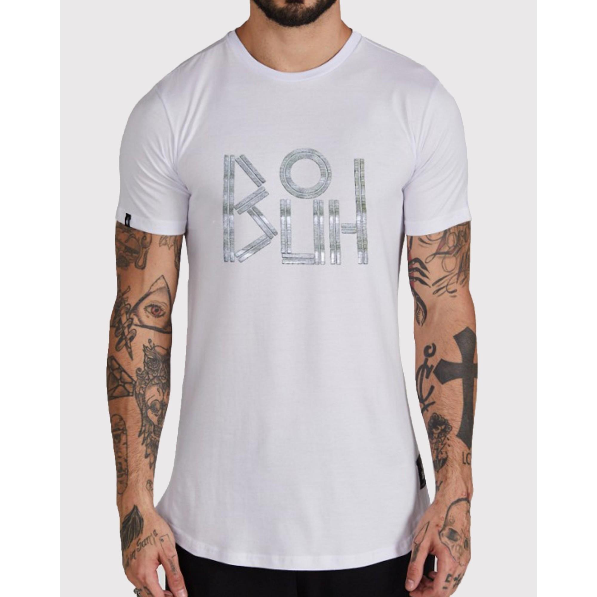 Camiseta Buh Logo Lines Metalizada White