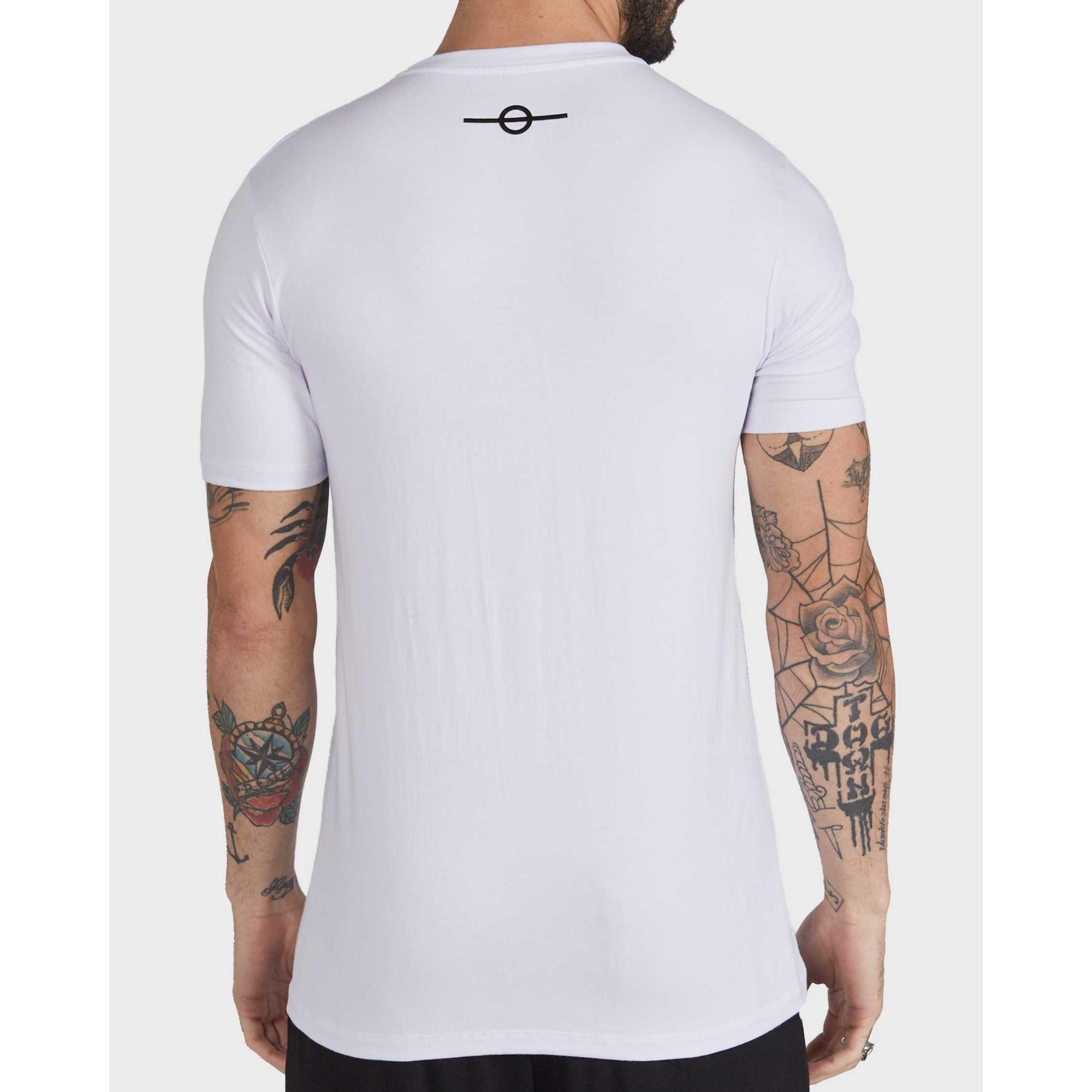 Camiseta Buh Logo Listras Neon White