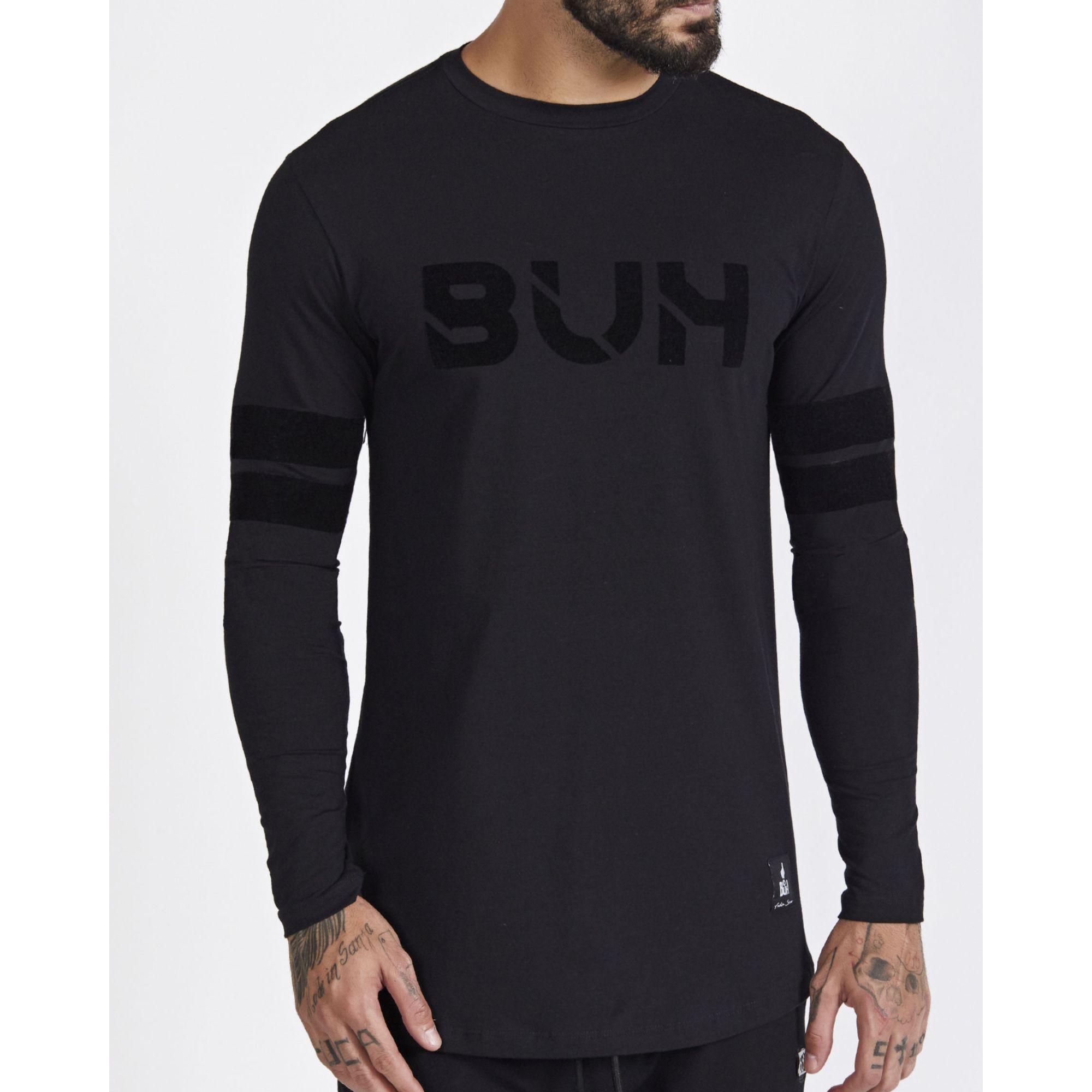 Camiseta Buh Manga Longa Faixas Black