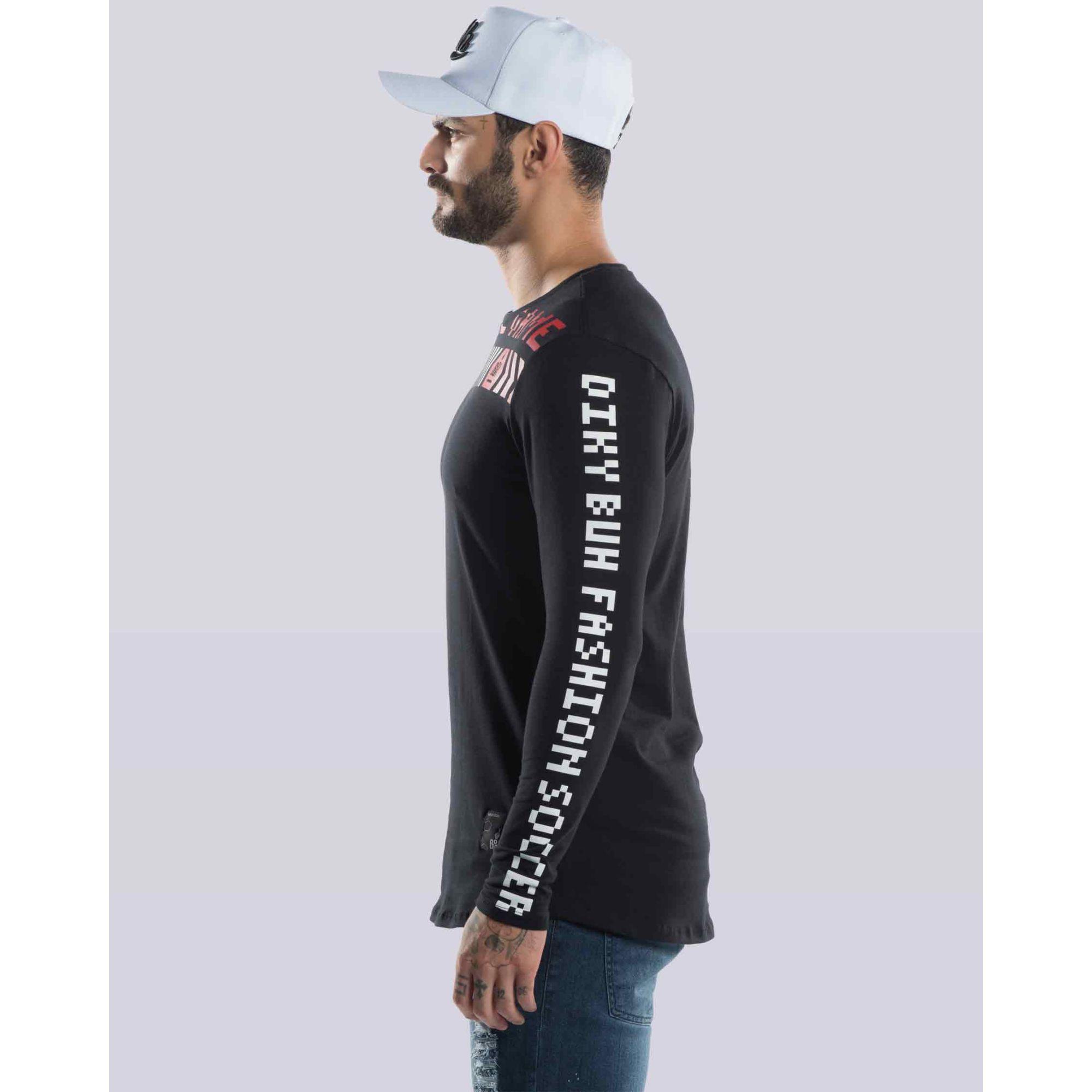 Camiseta Buh Manga Longa Pixel Black