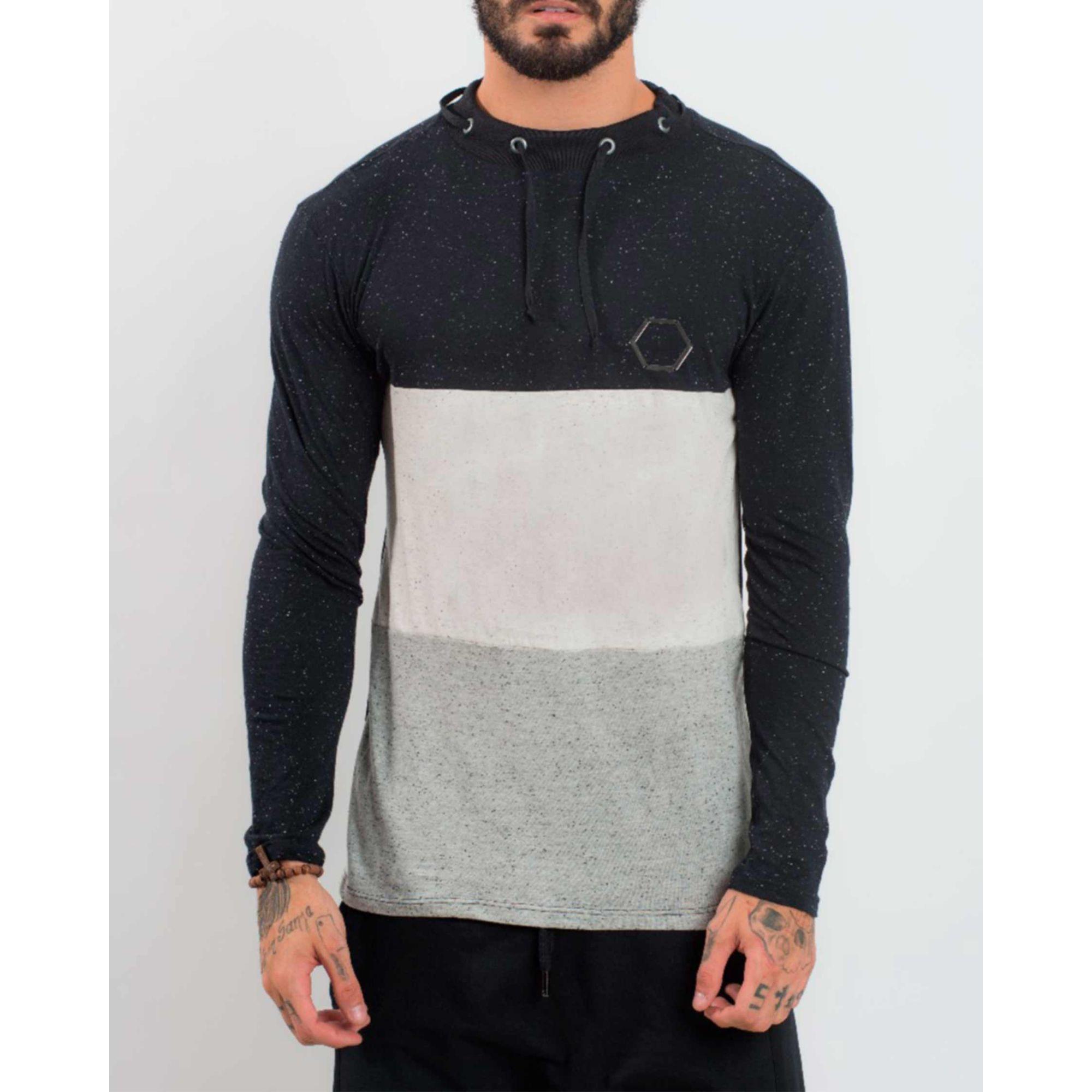 Camiseta Buh Manga Longa Stripes Lace