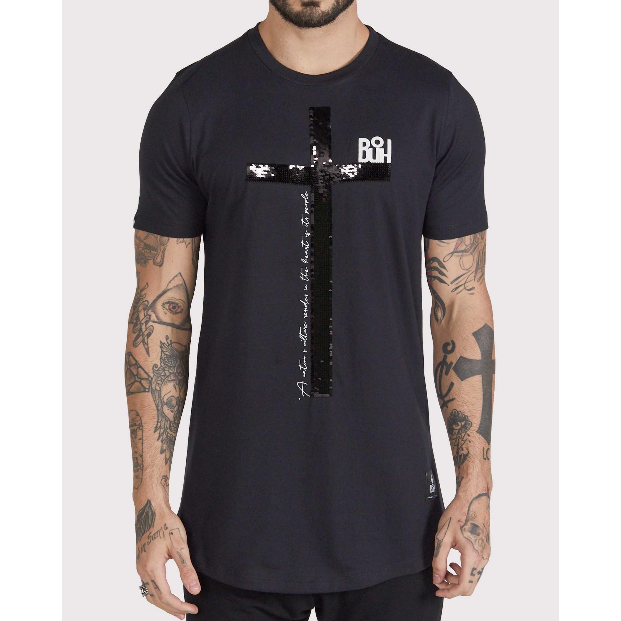 Camiseta Buh Paetê Cruz Black