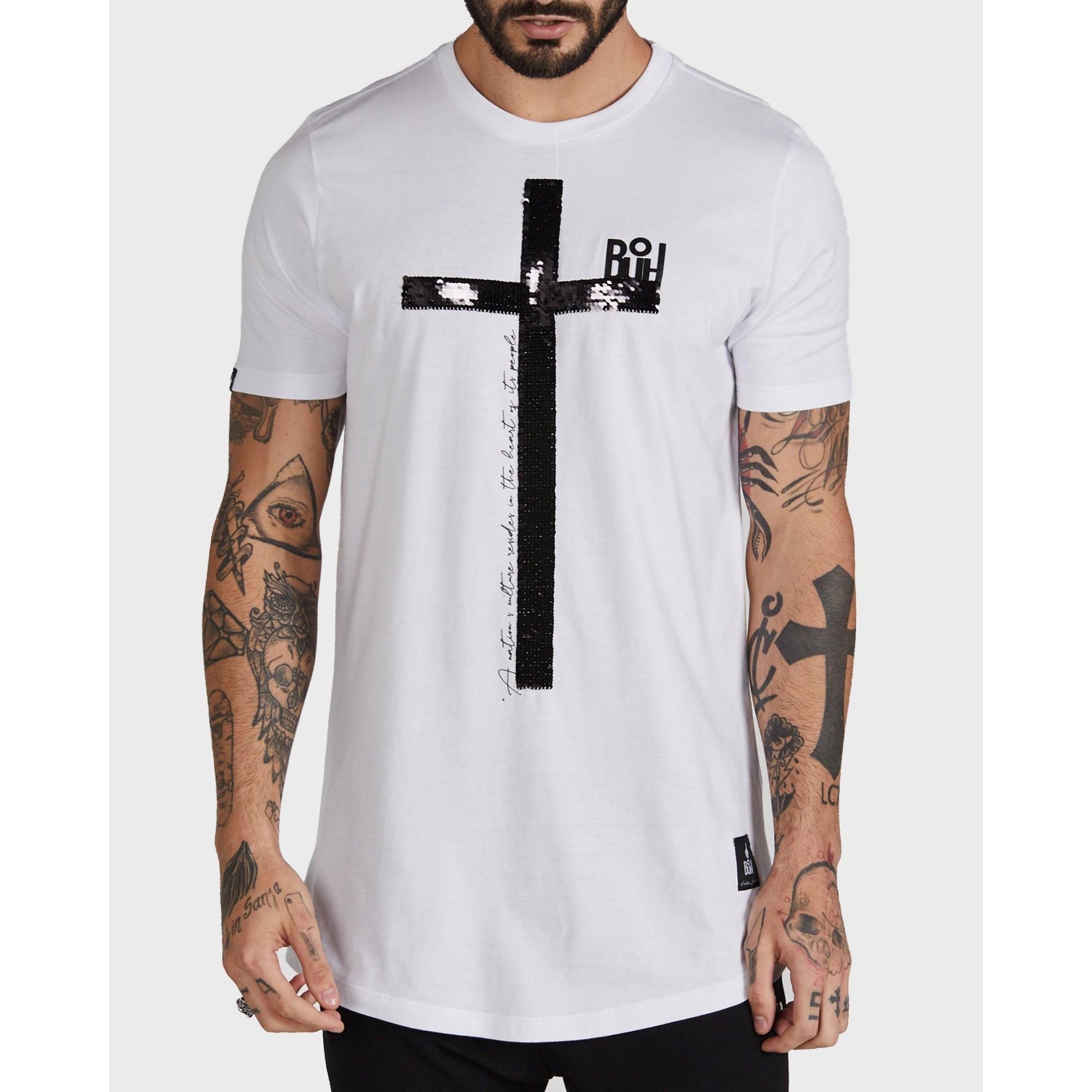 Camiseta Buh Paetê Cruz White