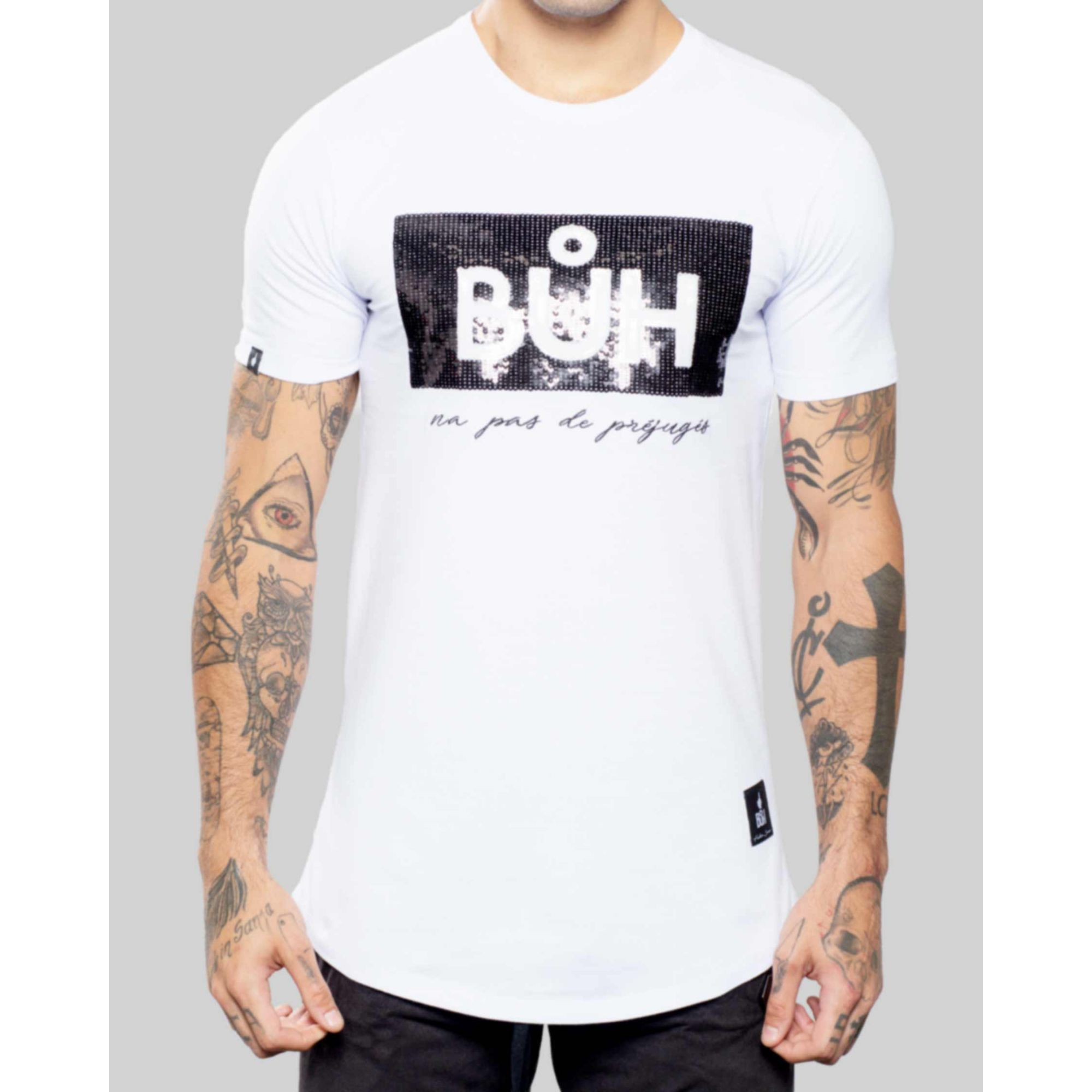 Camiseta Buh Paetê Préjugé White