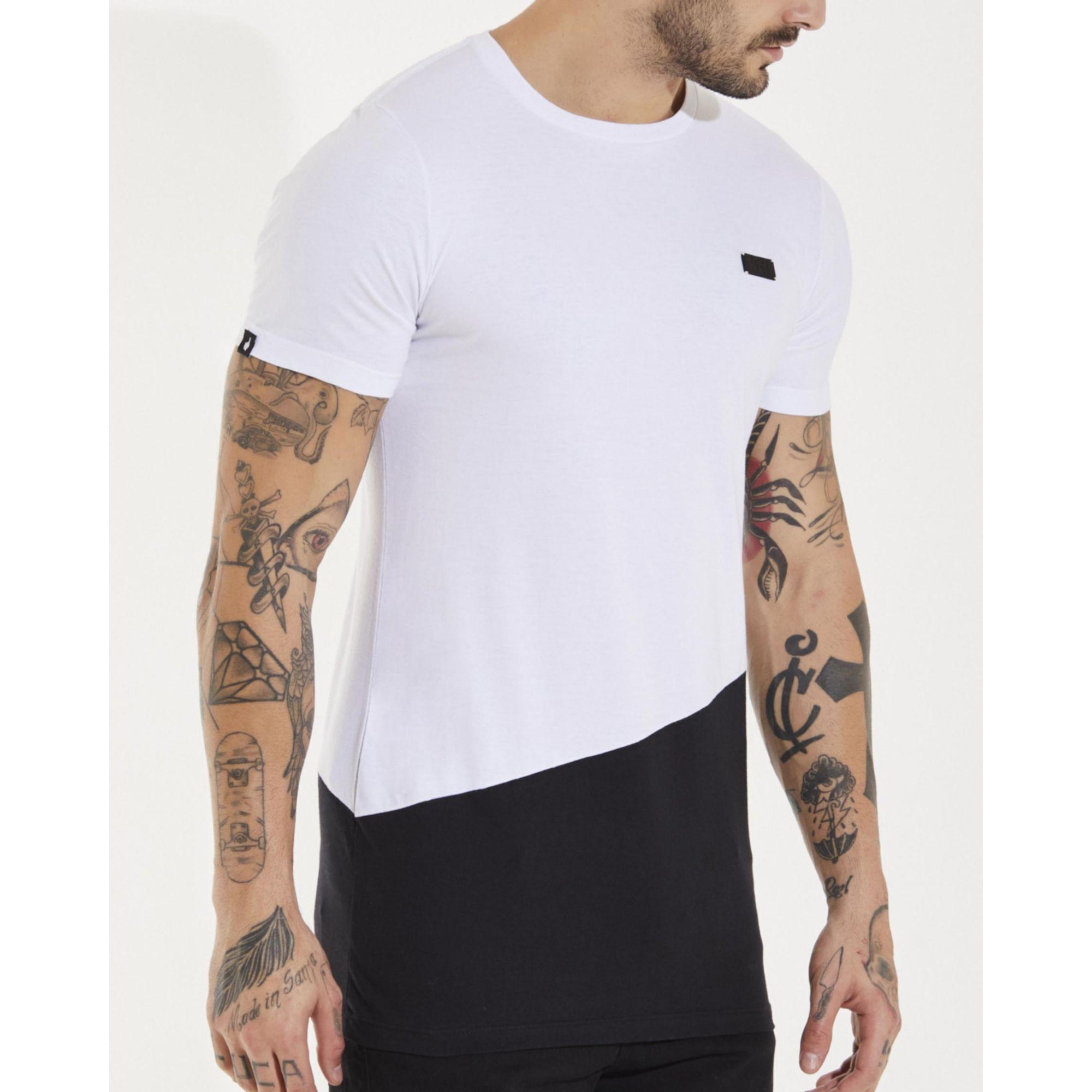 Camiseta Buh Placa Bicolor White & Black