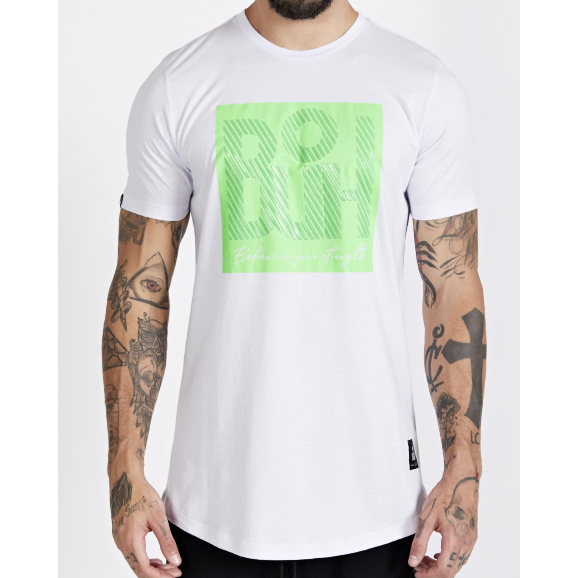 Camiseta Buh Square Believe White & Green