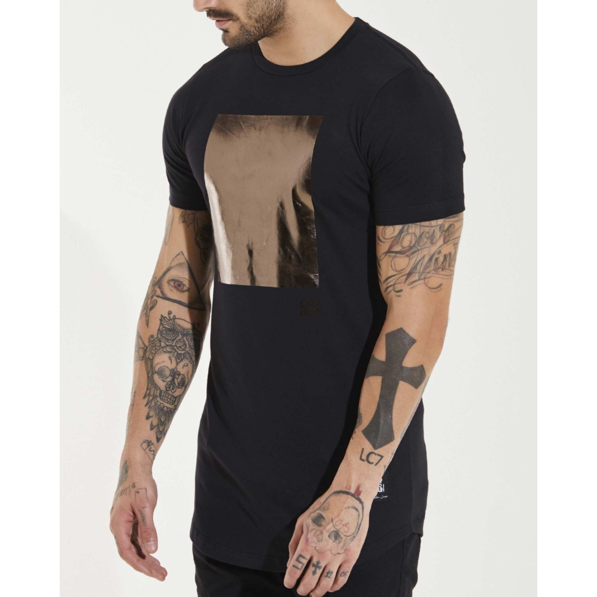 Camiseta Buh Square Foil Black & Gold