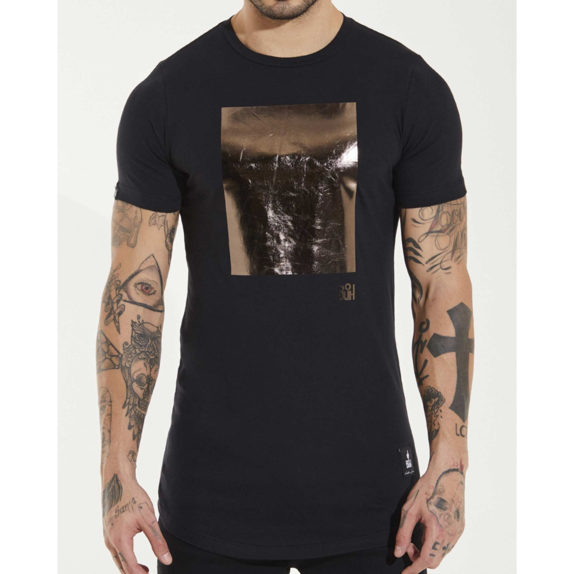 Camiseta Buh Square Foil Black & Gold