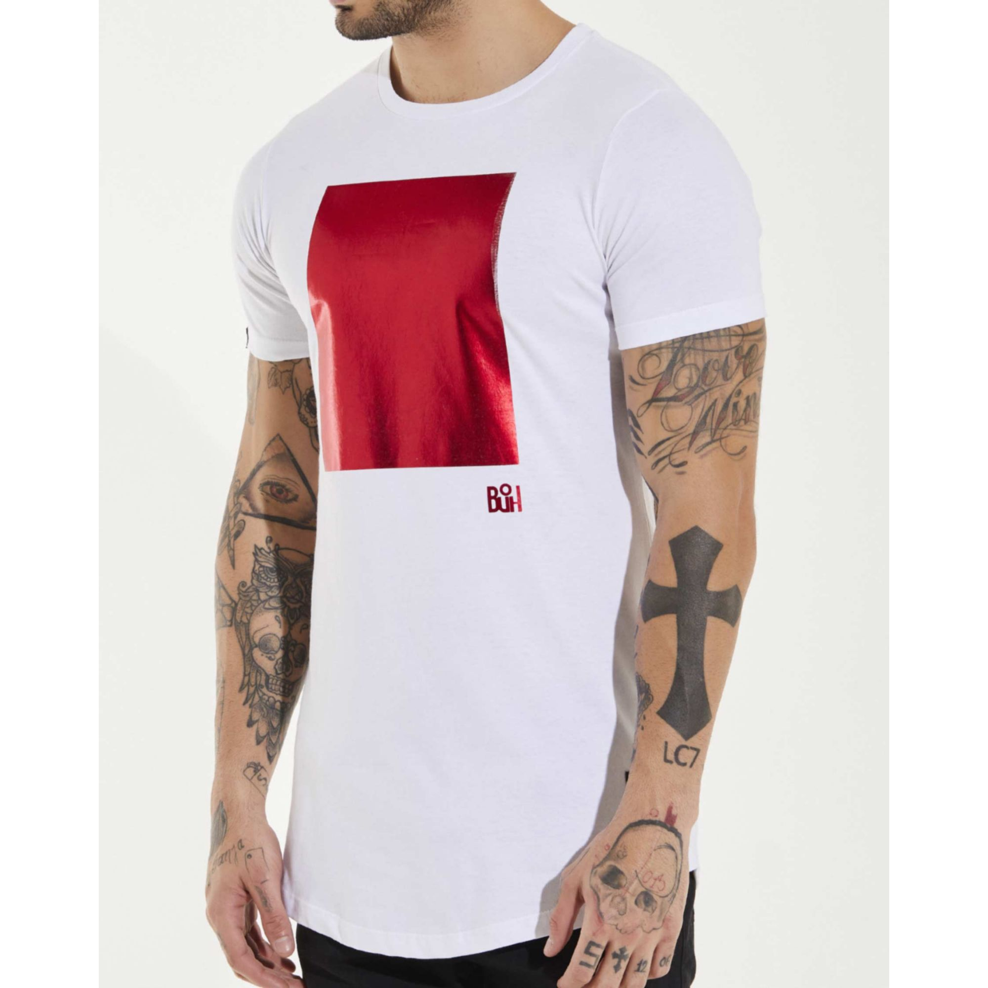 Camiseta Buh Square Foil White & Red