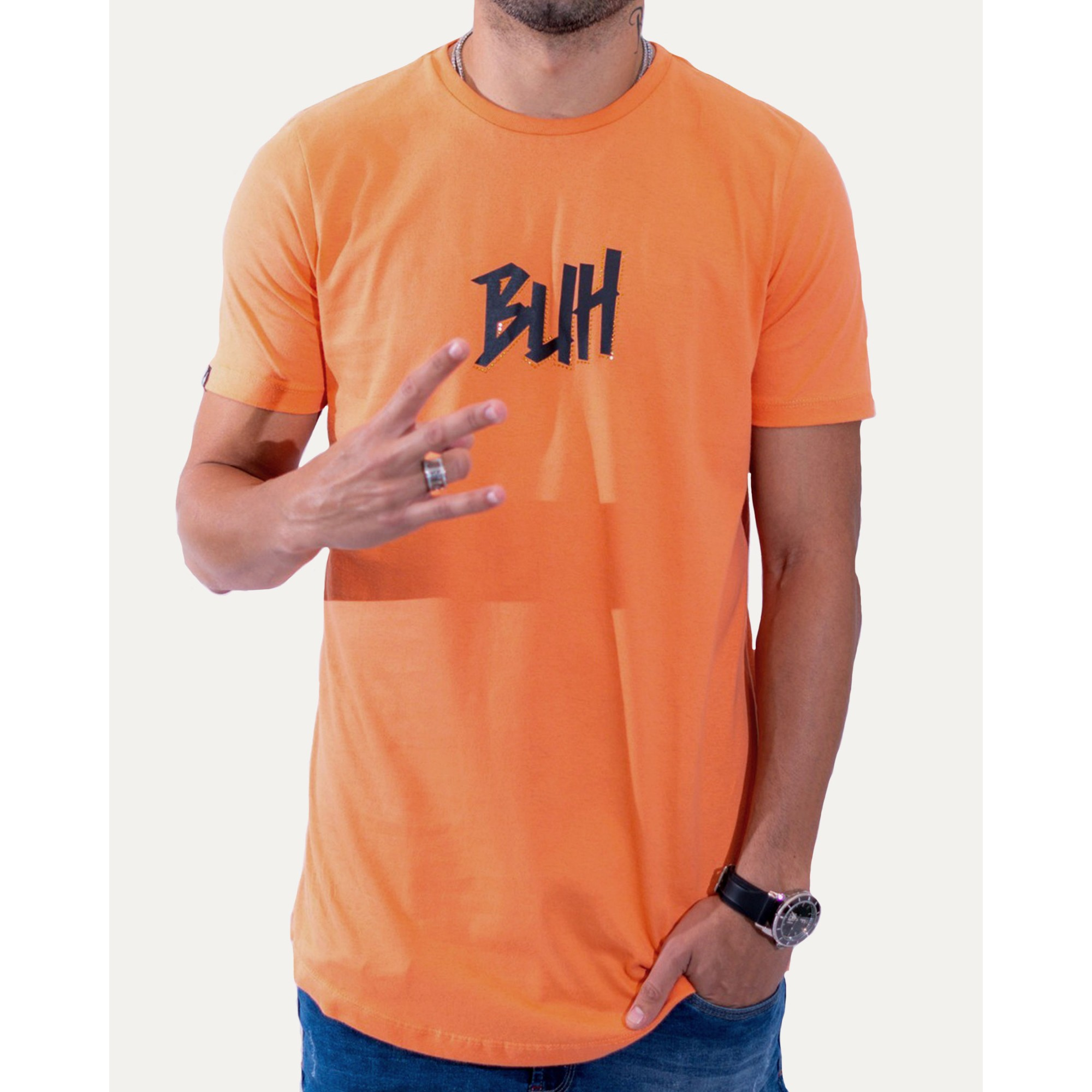 Camiseta Buh Strass Logo Orange