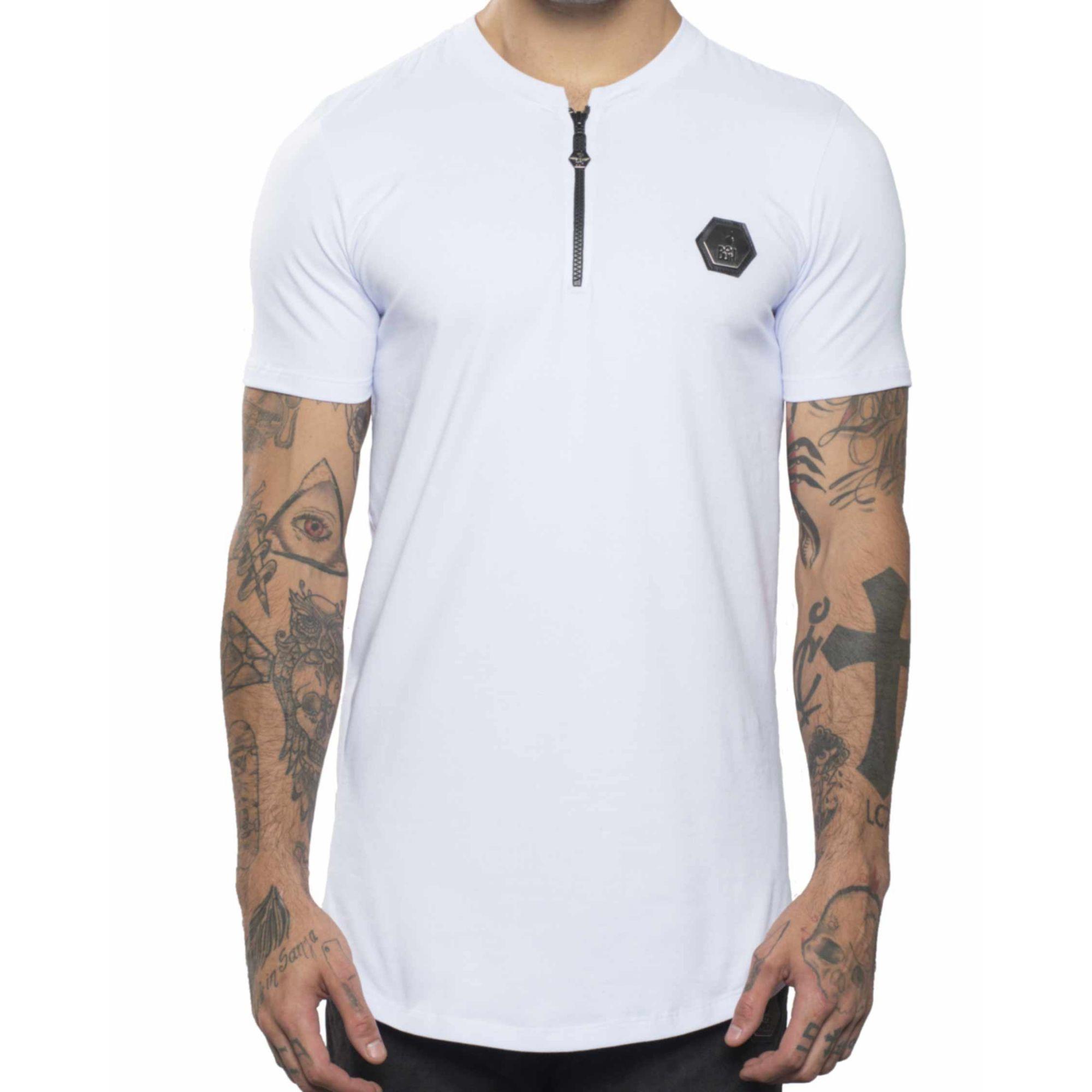 Camiseta Buh Zíper Plaquinha White