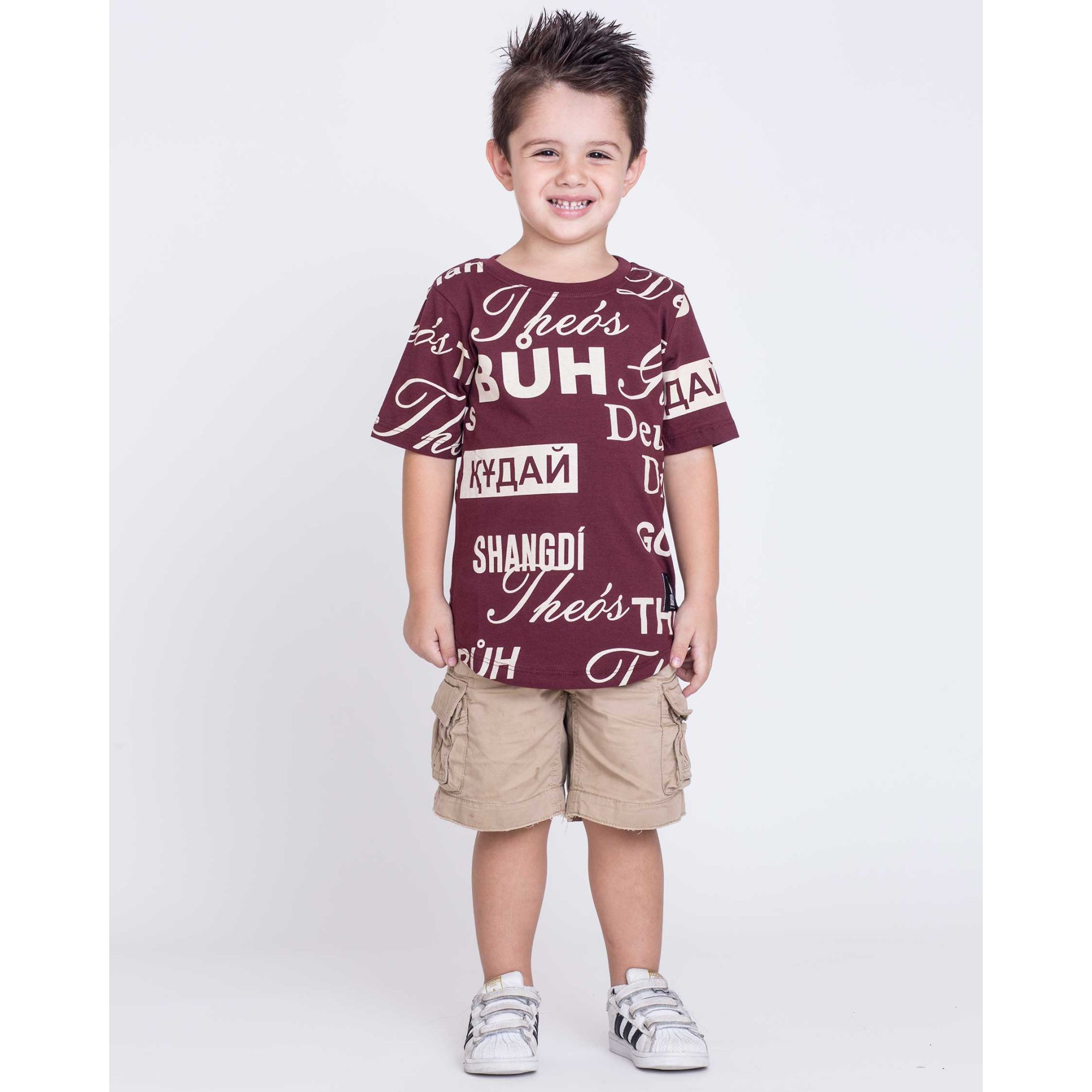 Camiseta Oversized Buh Kids Bordô