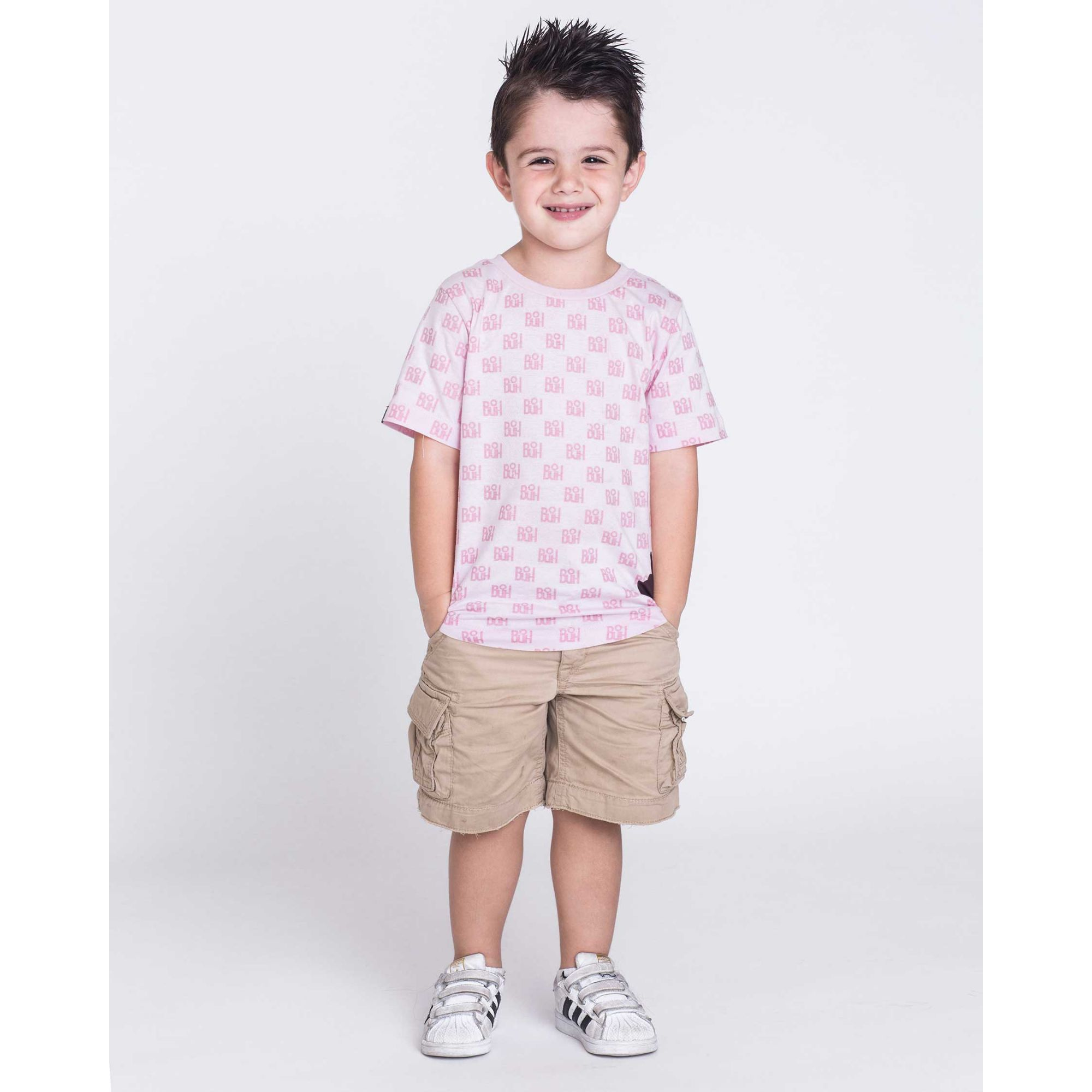 Camiseta Oversized Buh Kids Full Print Pink