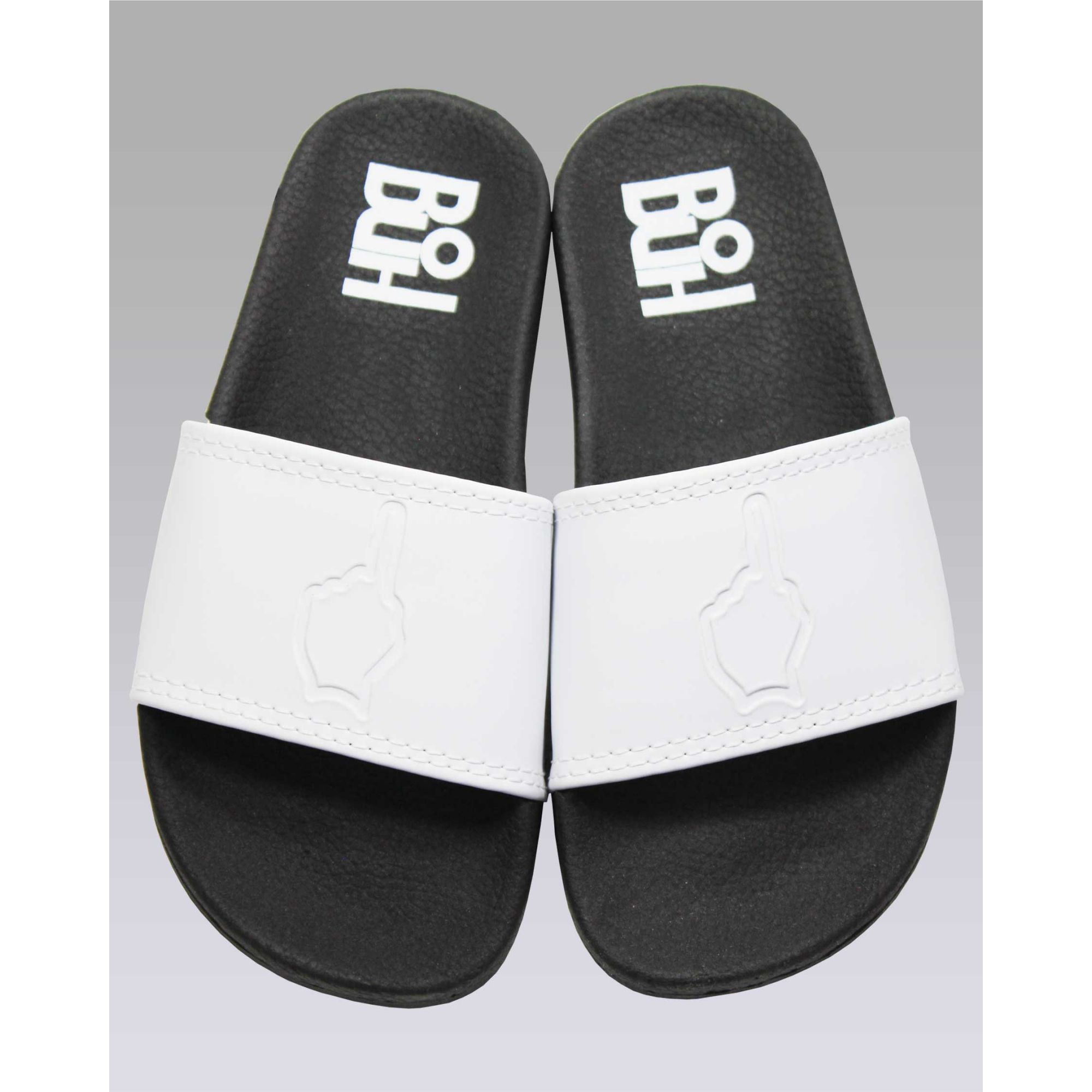 Chinelo Buh Slide Finger Black & White Kids