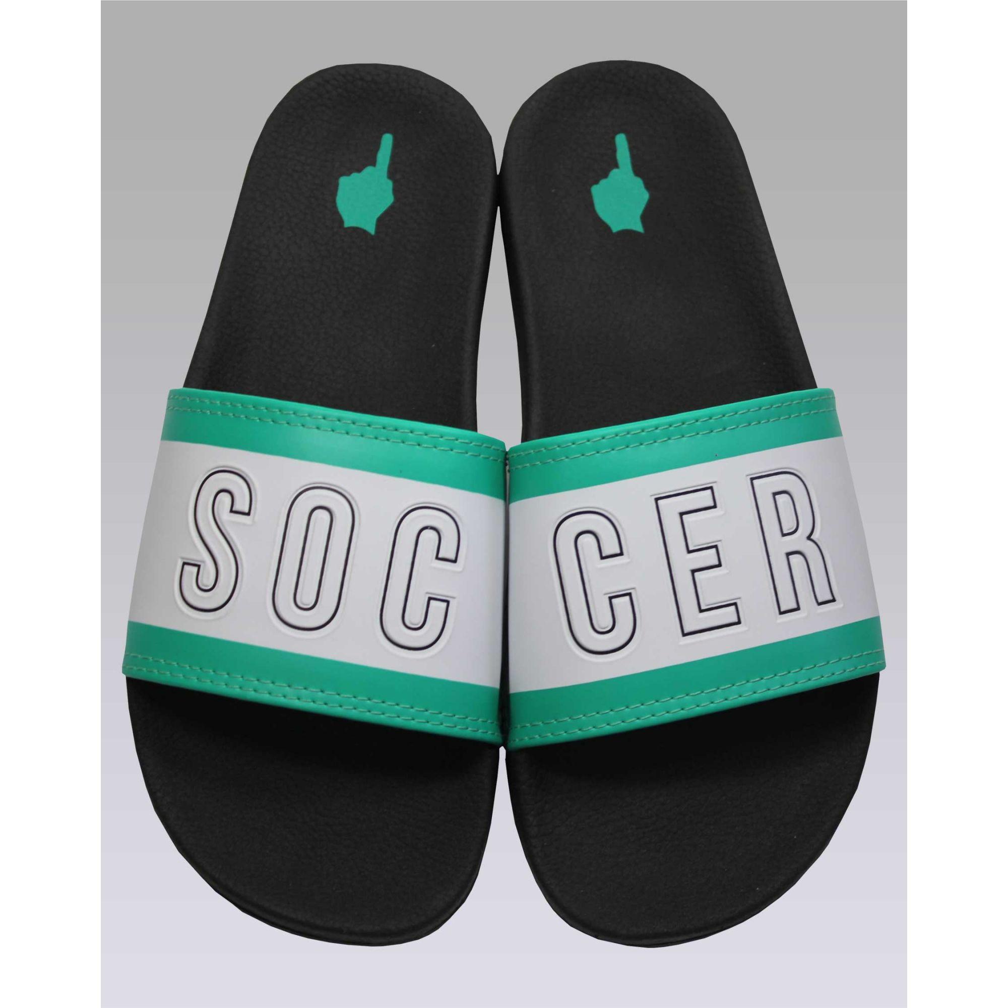 Chinelo Buh Slide Soccer Green & White