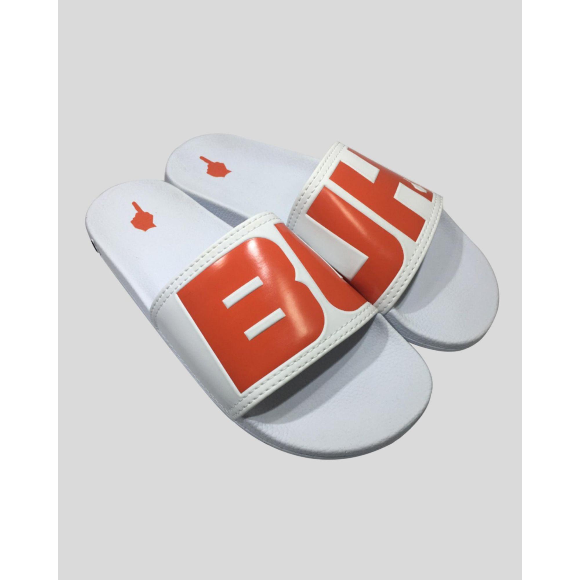 Chinelo Buh Slide White & Orange