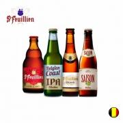 Combo Cervejas Belgas St Feuillien  (Noel, Belgian Coast Ipa,Grand Cru ,Saison ) 330ml C/ 4 unidades