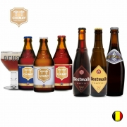Combo de 6 unidades com Chimay Blue , Chimay Triple , Chimay Red , Westamalle Dubbel , Westmalle Tripel , Orval  e 1 Taça Orval  330 ml