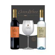 Kit Vinho Português  Monte Cascas Tinto Colheita Douro e Monte Cascas Branco Colheita Douro 750 ml + 1taça