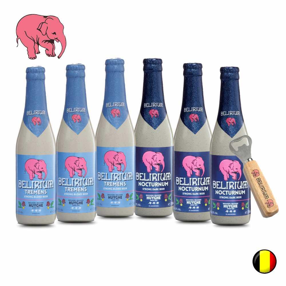 Combo Belga com 6 unidades Delirium 330ml e 1 abridor de brinde da Delirium