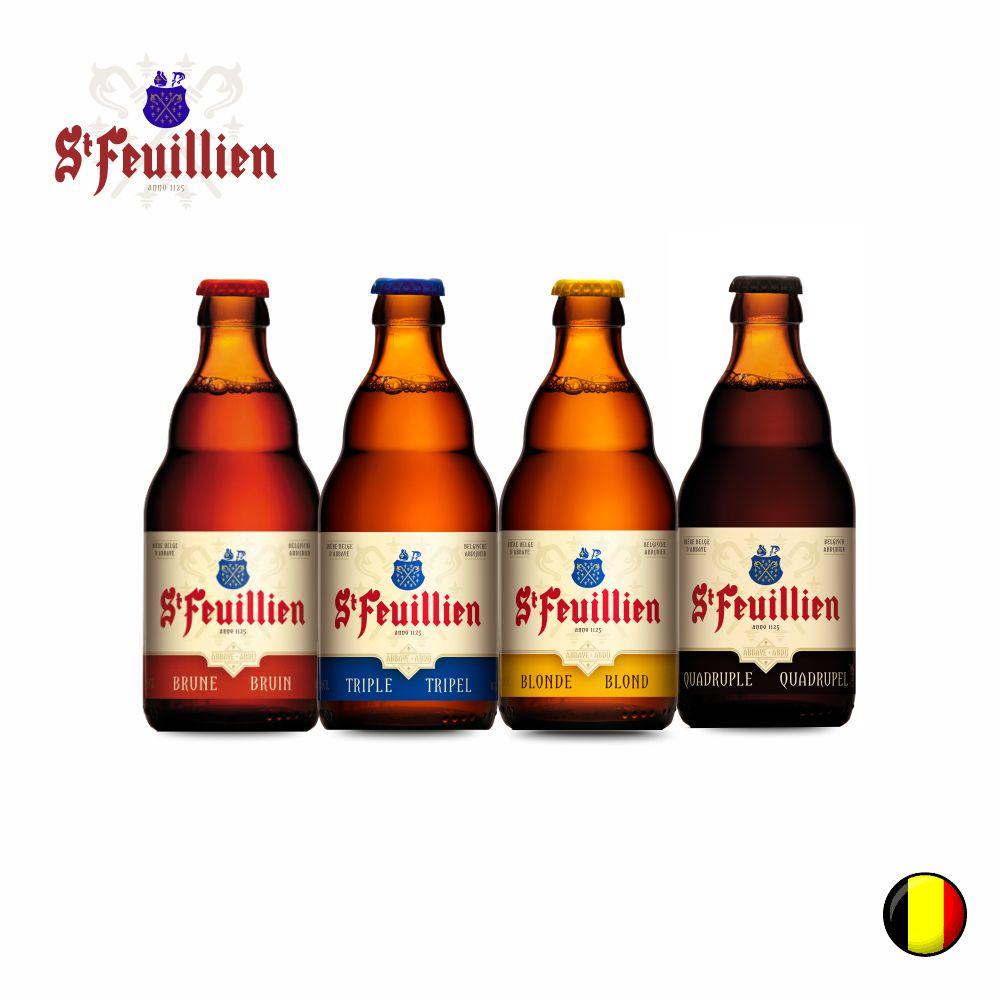 Combo Cervejas Belgas St Feuillien  (Brune , Tripel , Blonde e Quadrupel ) 330ml C/ 4 unidades
