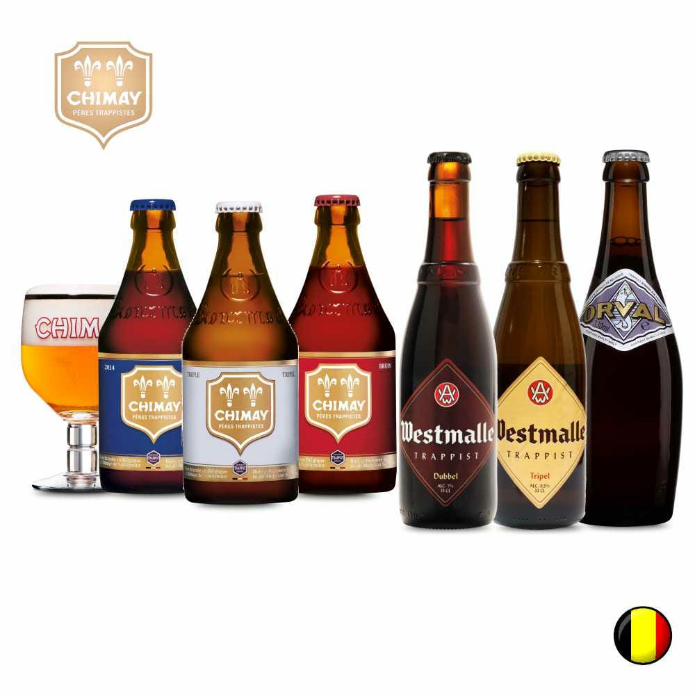 Combo de 6 unidades com Chimay Blue , Chimay Triple , Chimay Red , Westamalle Dubbel , Westmalle Tripel , Orval  + 1 Taça chimay  330 ml