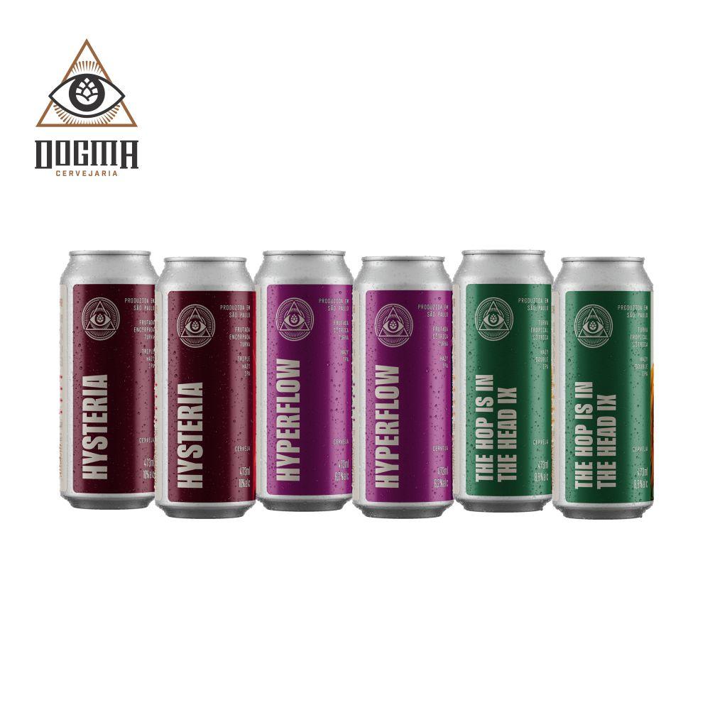 Combo Dogma 6 unidades (2un Hysteria, 2un Hyperflow , 2un The Hop is in the head IX  473 ml )