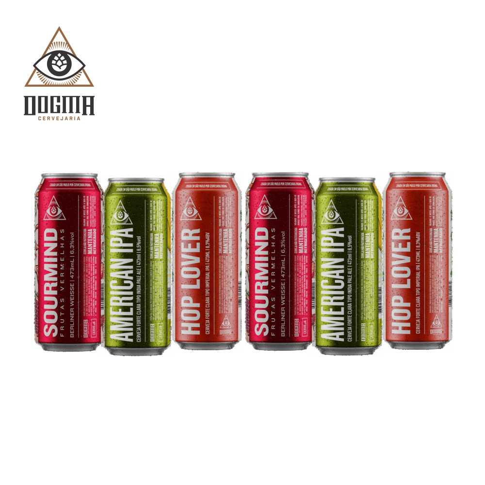 Combo Dogma 6 unidades 473 ml  (Sourmind Frutas Vermelhas , American Ipa , Hop Lover )
