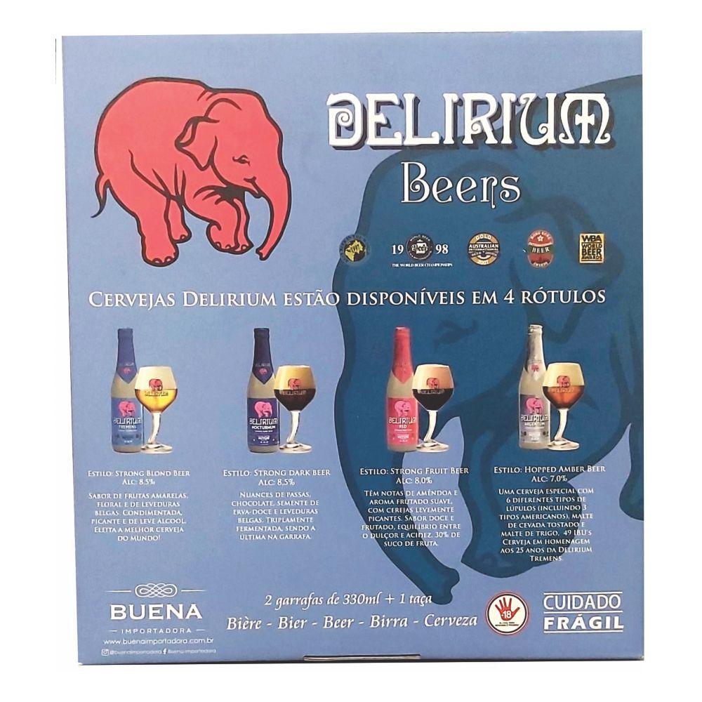 Kit Delirium Tremens  2 garrafas + 1 Taça Tromba do Elefante