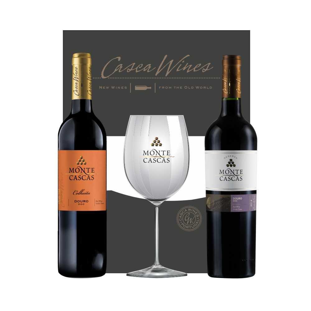 Kit Vinho Português  Monte Cascas Tinto Colheita Douro e Monte Cascas Colheita Douro Reserva 750 ml + 1taça