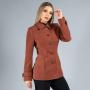 Casaco de Lã Premium New York Acinturado Marrom Ref. 3551