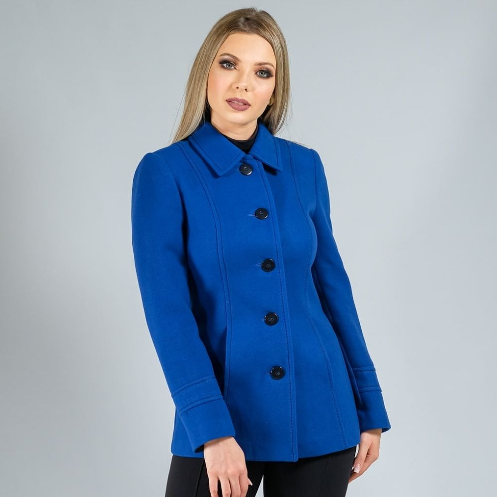 Casaco de Lã Premium New York Acinturado Azul Ref. 3551
