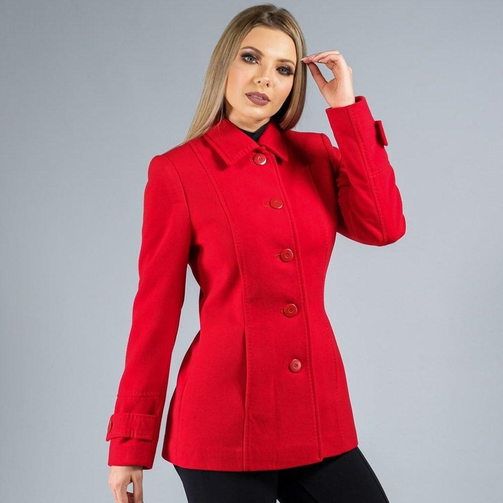 Casaco de Lã Premium New York Acinturado Vermelho Ref. 3551