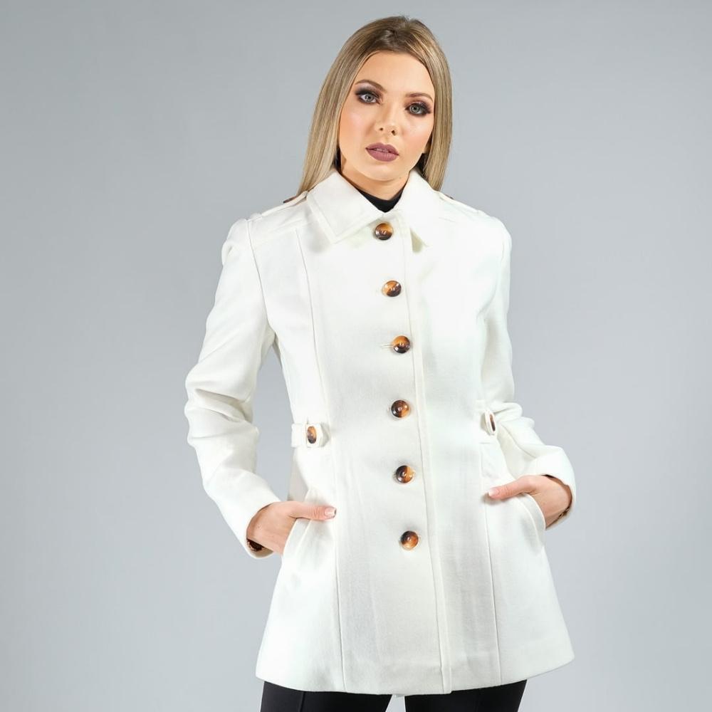 Casaco de Lã Premium Paris Acinturado Branco Ref. 3550