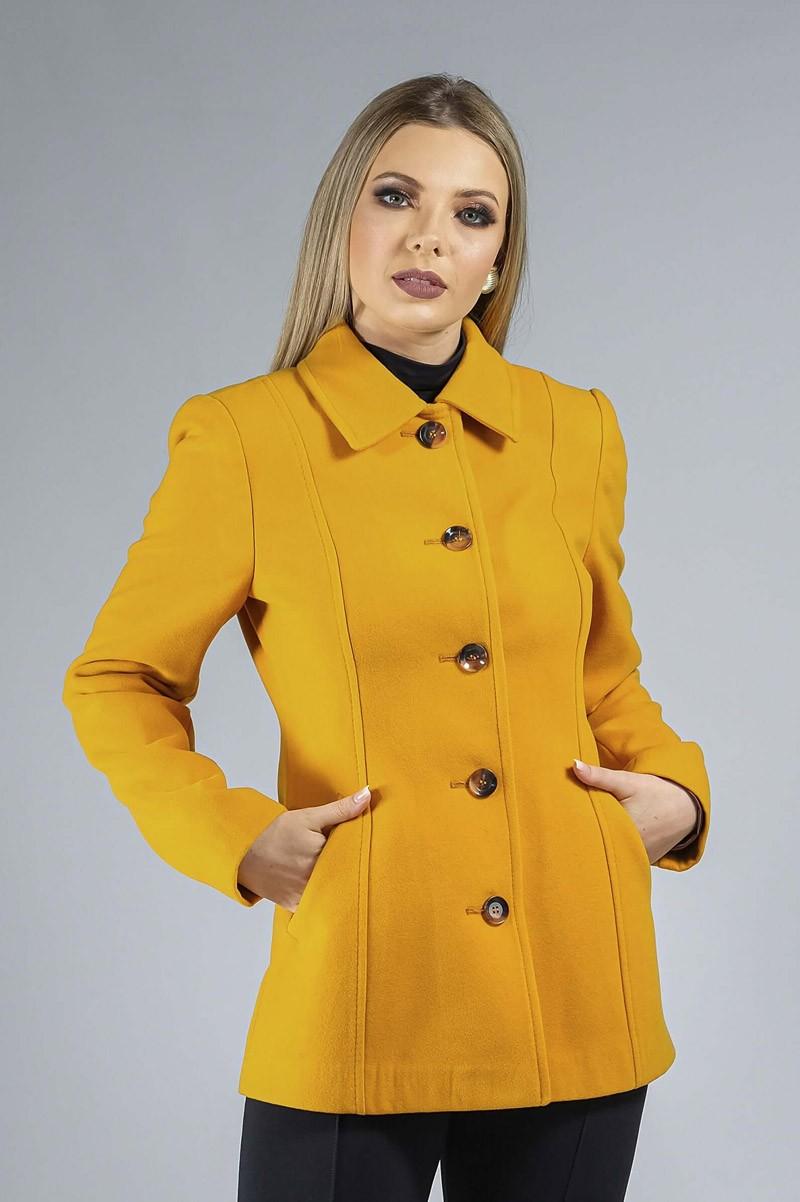 Casaco de Lã Premium Zurique Acinturado Amarelo Ref. 3563